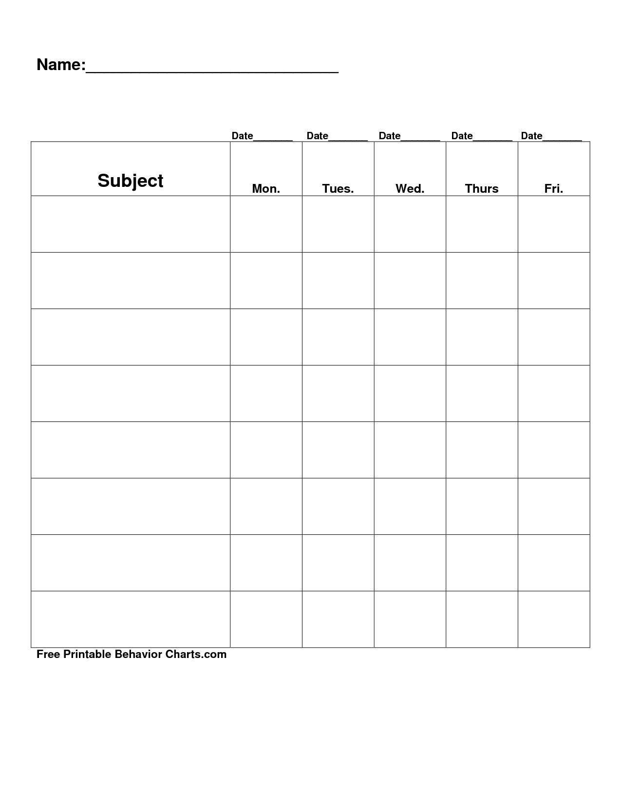 Free Printable Blank Charts | Free Printable Behavior Charts Com pertaining to Free Printable Blank Behavior Charts