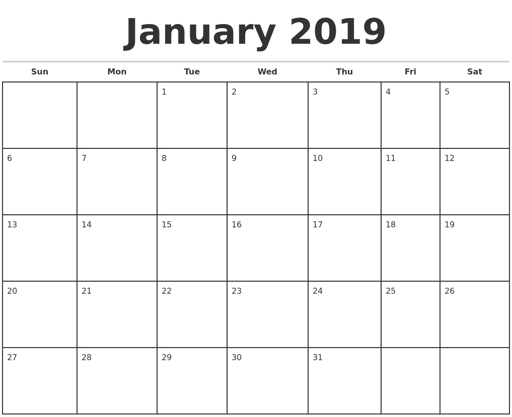 Free Printable Blank Monthly Calendar 2019 2019 Monthly Calendar pertaining to Free Monthly Calendar Template