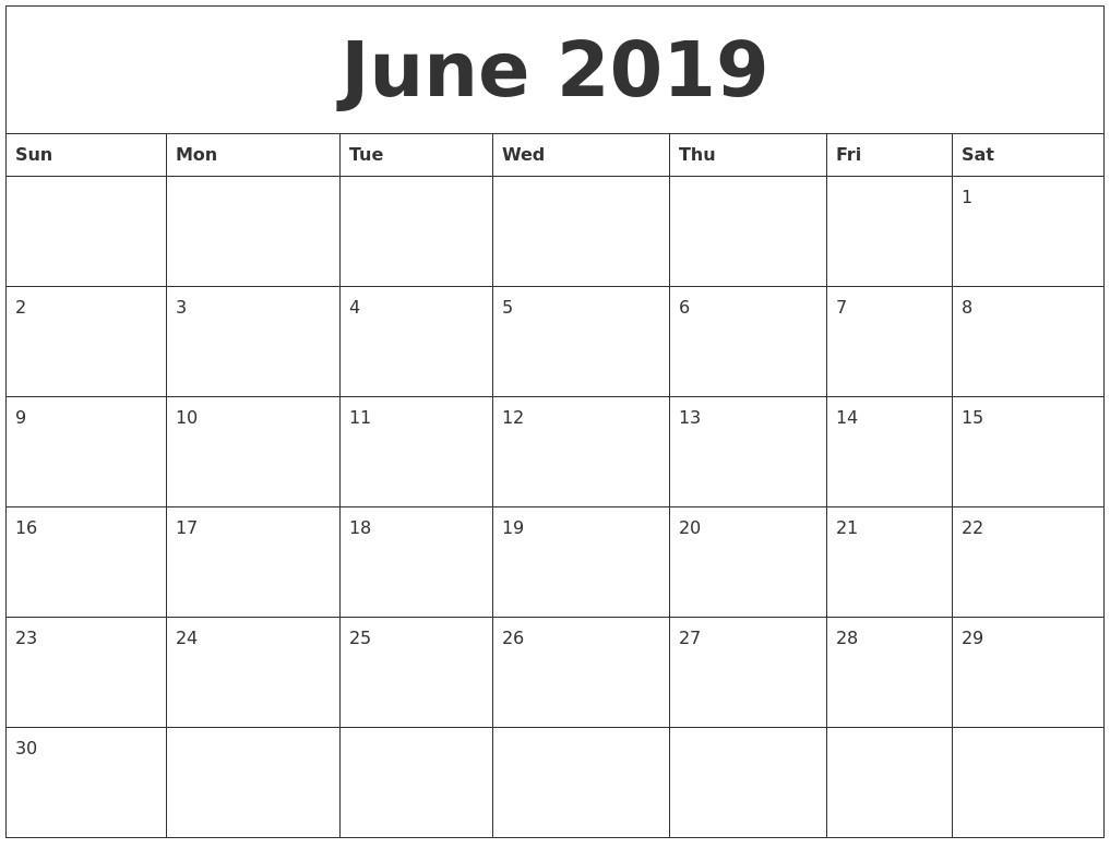 Free Printable Blank Monthly Calendar 2019 June 2019 Blank Monthly intended for Free Printable Unicorn Calendar 2019-2020