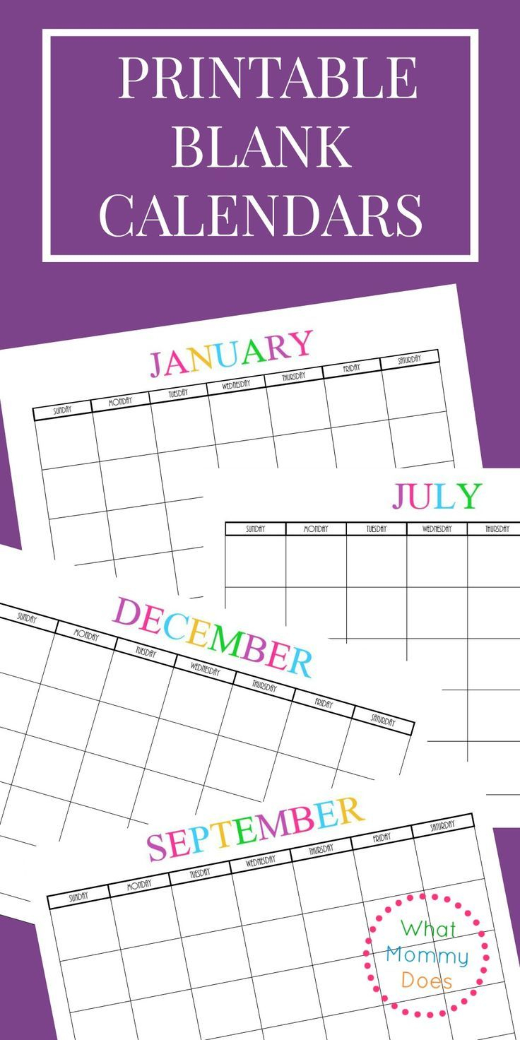 Free Printable Blank Monthly Calendars – 2018, 2019, 2020, 2021+ inside 2019- 2020 Academic Calendar Printable Empty Boxes