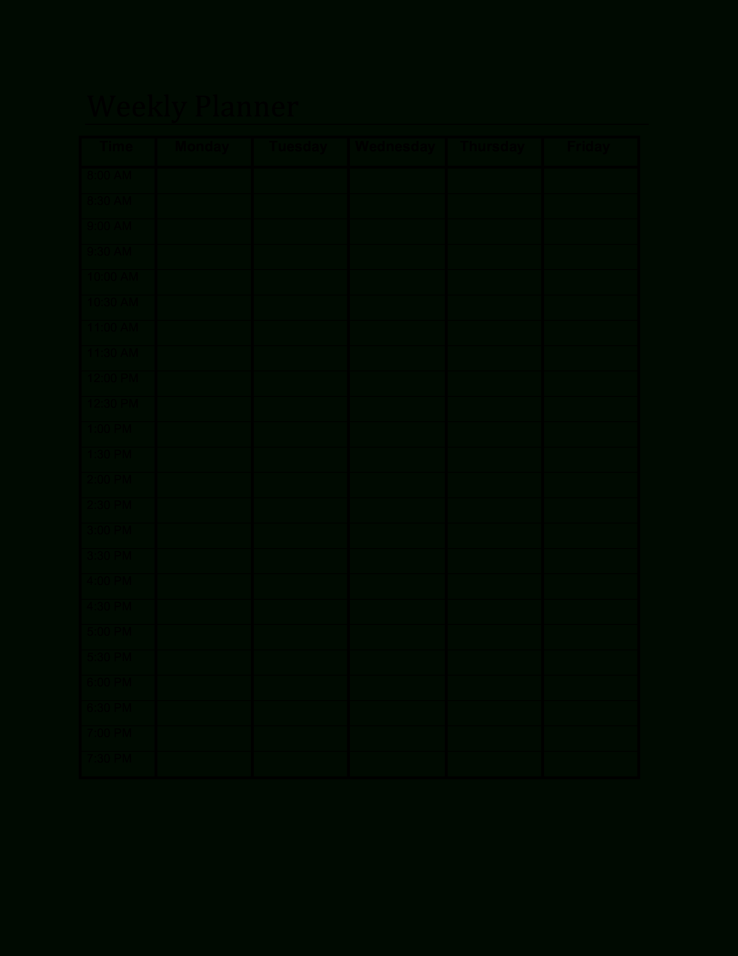 Free Printable Blank Weekly Planner Templates At Al Pdf Downloadable with Printable Blank Weekly Calendars Templates