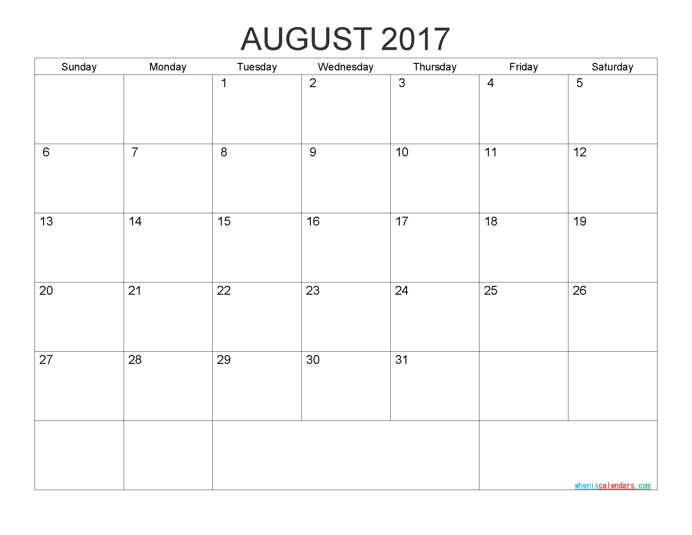 Free Printable Calendar 2017 Monthly Calendarpdf, Image | Free regarding Printable Calendar Templates August Through December