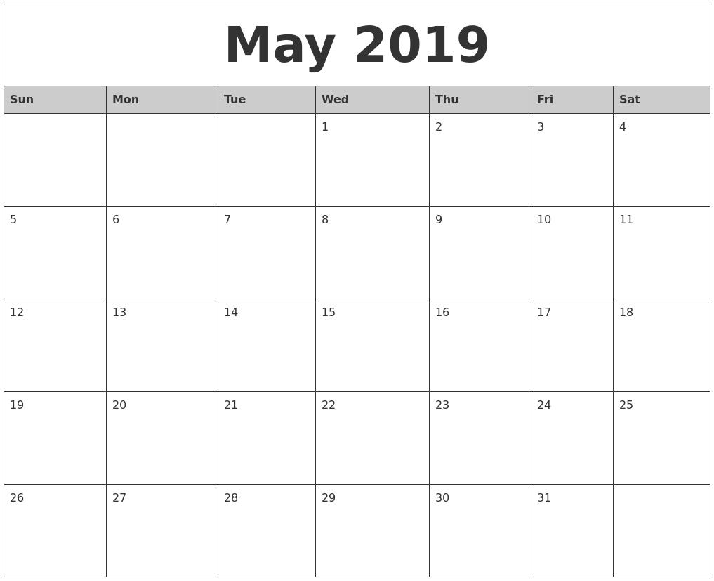 Free Printable Calendar 2018: 2019 Editable Word, Excel Calendar within Free Blank Calendar Templates To Print