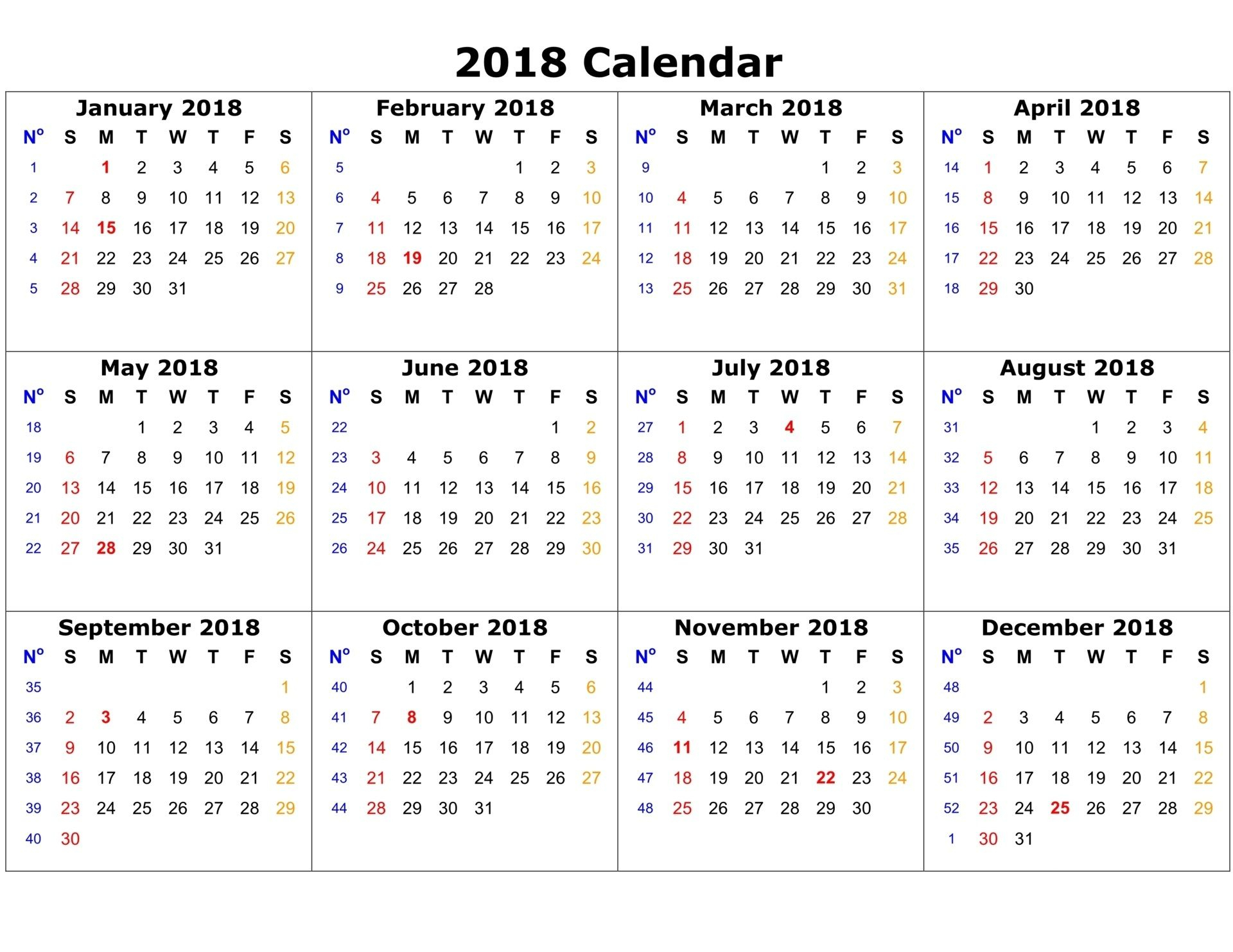 Free Printable Calendar 2018 | Printable Calendar | 2018 Calendar pertaining to Blank Printable Calendar 12 Month