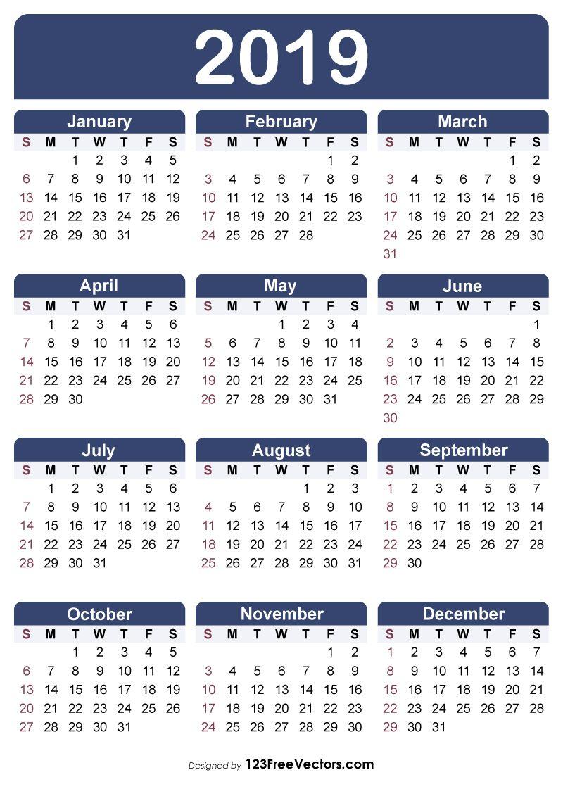 Free Printable Calendar 2019 | 2019 Calendar | Free Printable within Free Printable Calendar Templates 8 X 10