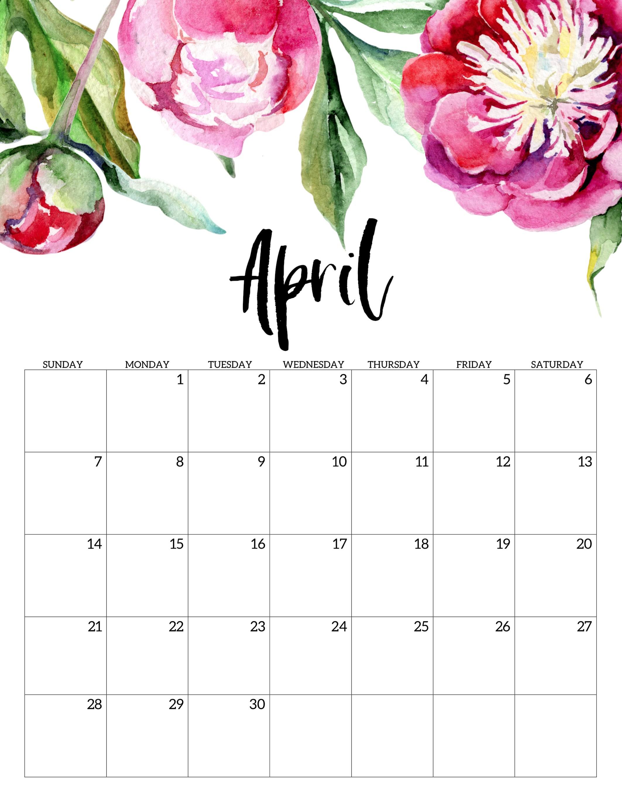 Free Printable Calendar 2019 - Floral - Paper Trail Design pertaining to Decorative Printable Calendar Templates