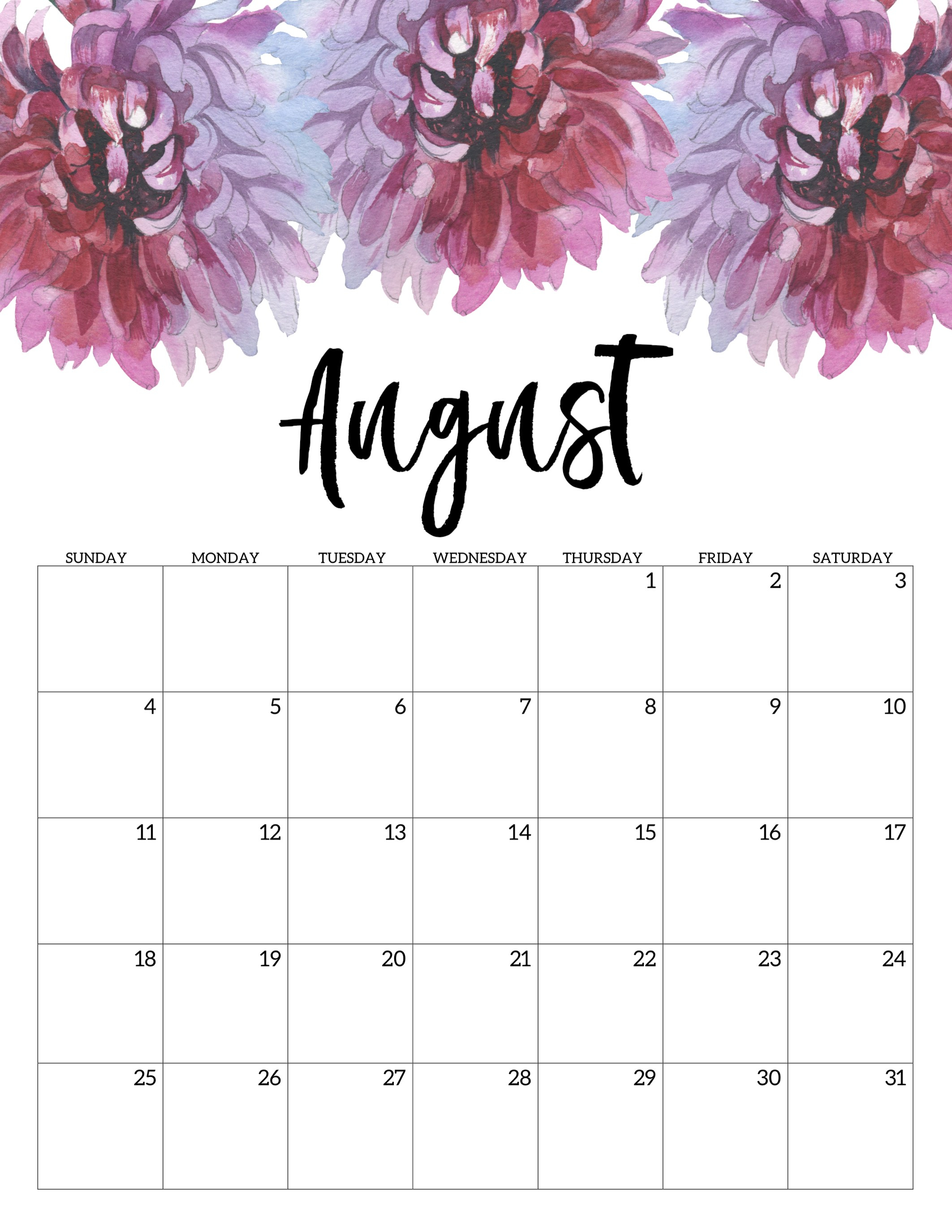 Free Printable Calendar 2019 - Floral - Paper Trail Design regarding 2019 2020 Girly Calendar Printable