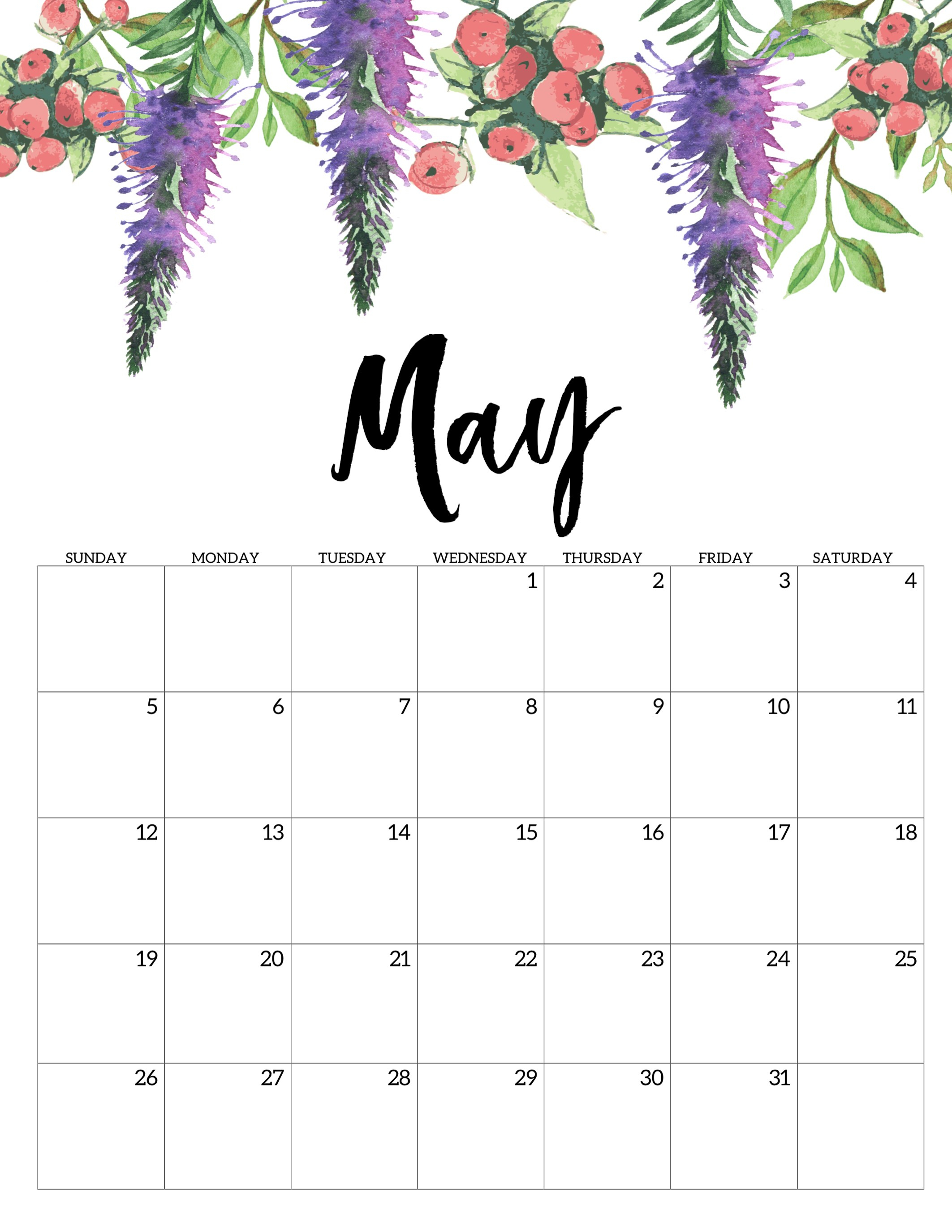 Free Printable Calendar 2019 - Floral - Paper Trail Design regarding Blank Calendar Months For Year 2019-2020 Girly
