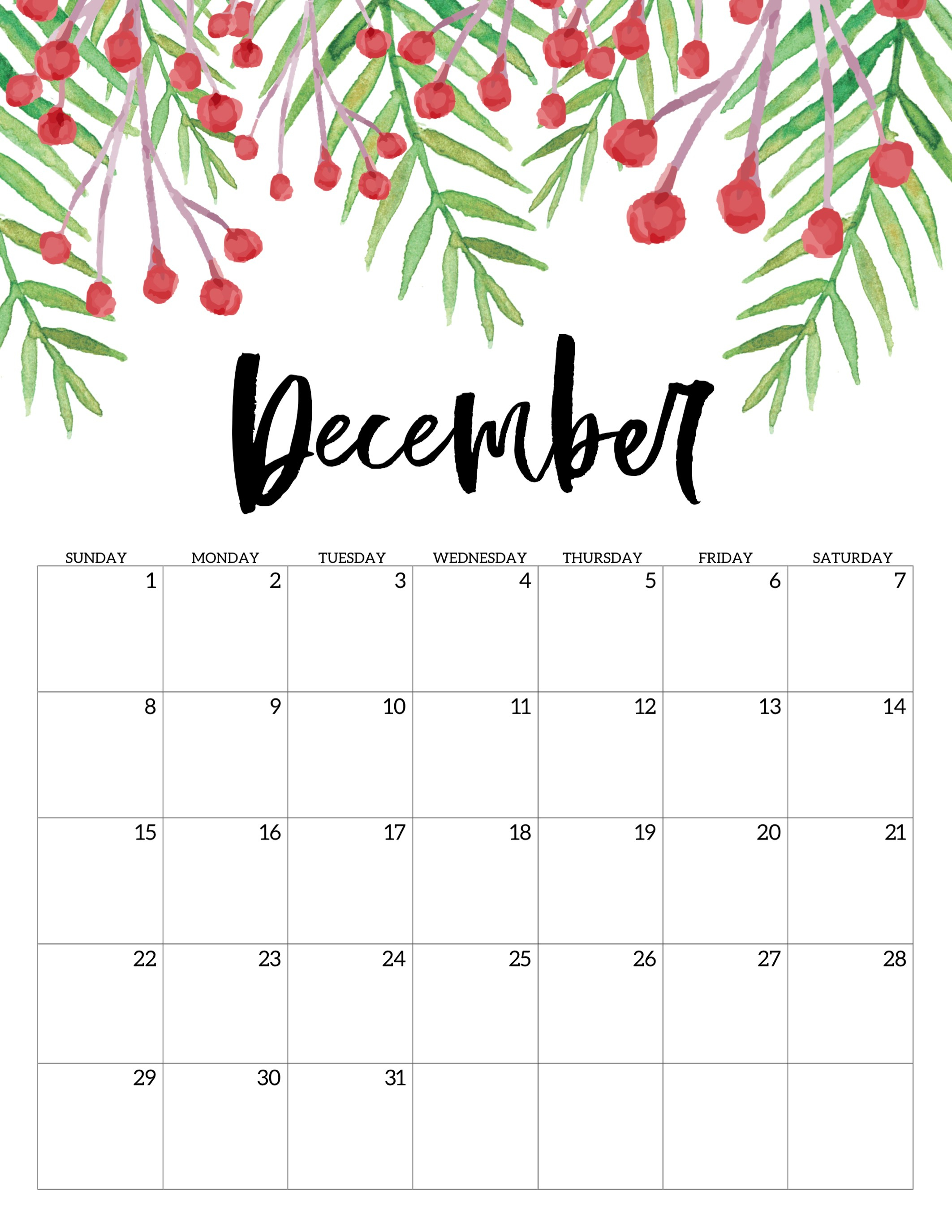 Free Printable Calendar 2019 - Floral - Paper Trail Design with regard to Blank Calendar Months For Year 2019-2020 Girly