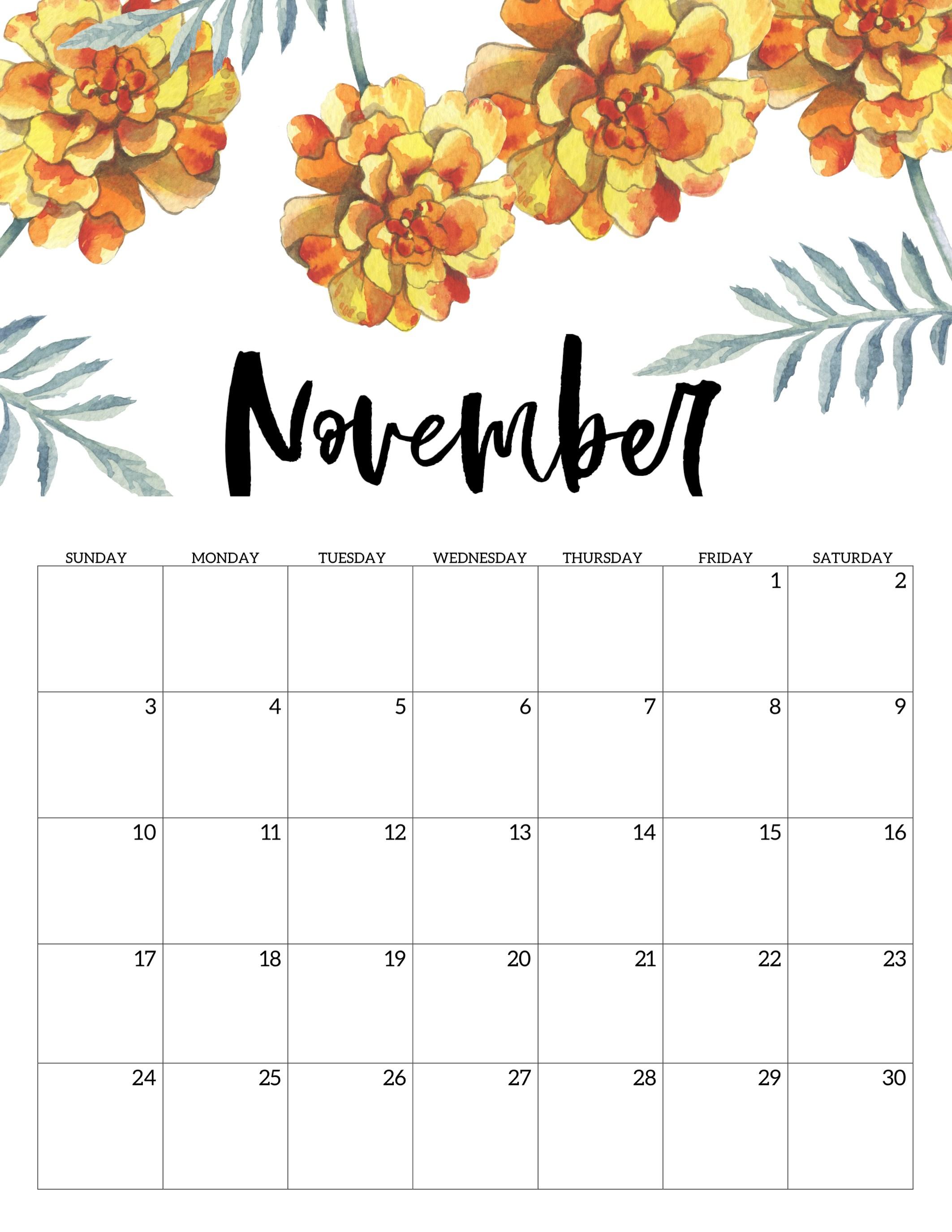 Free Printable Calendar 2019 - Floral - Paper Trail Design with regard to Decorative Printable Calendar Templates