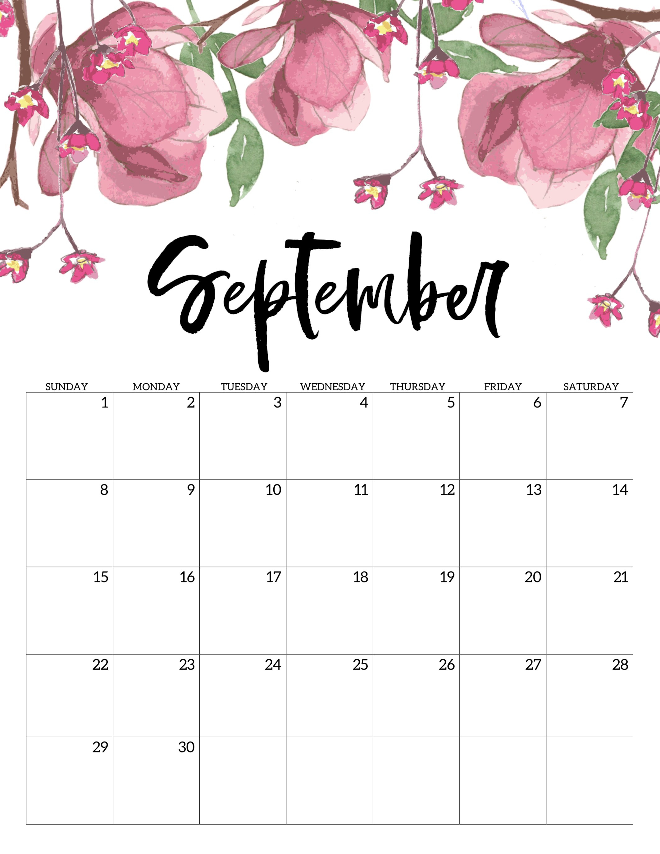 Free Printable Calendar 2019 - Floral - Paper Trail Design with regard to July Calendar Template Flowers