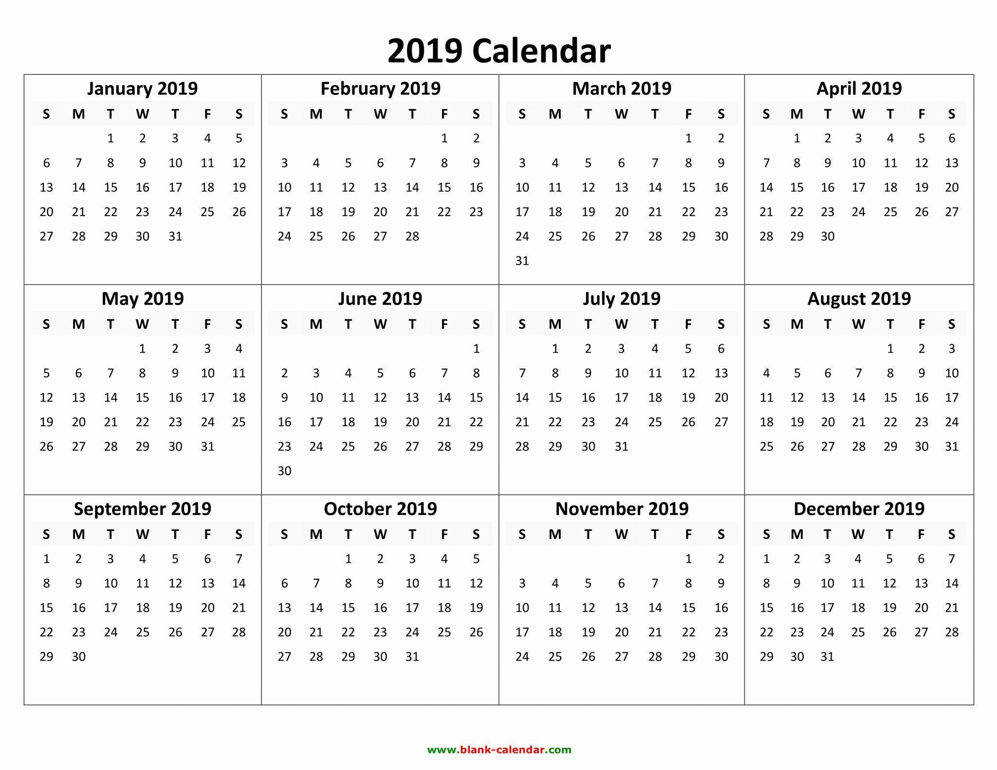 Free Printable Calendar 2019 With Holidays | Blank 12 Month Calendar with regard to Vetex 2020 Word Calendar Download