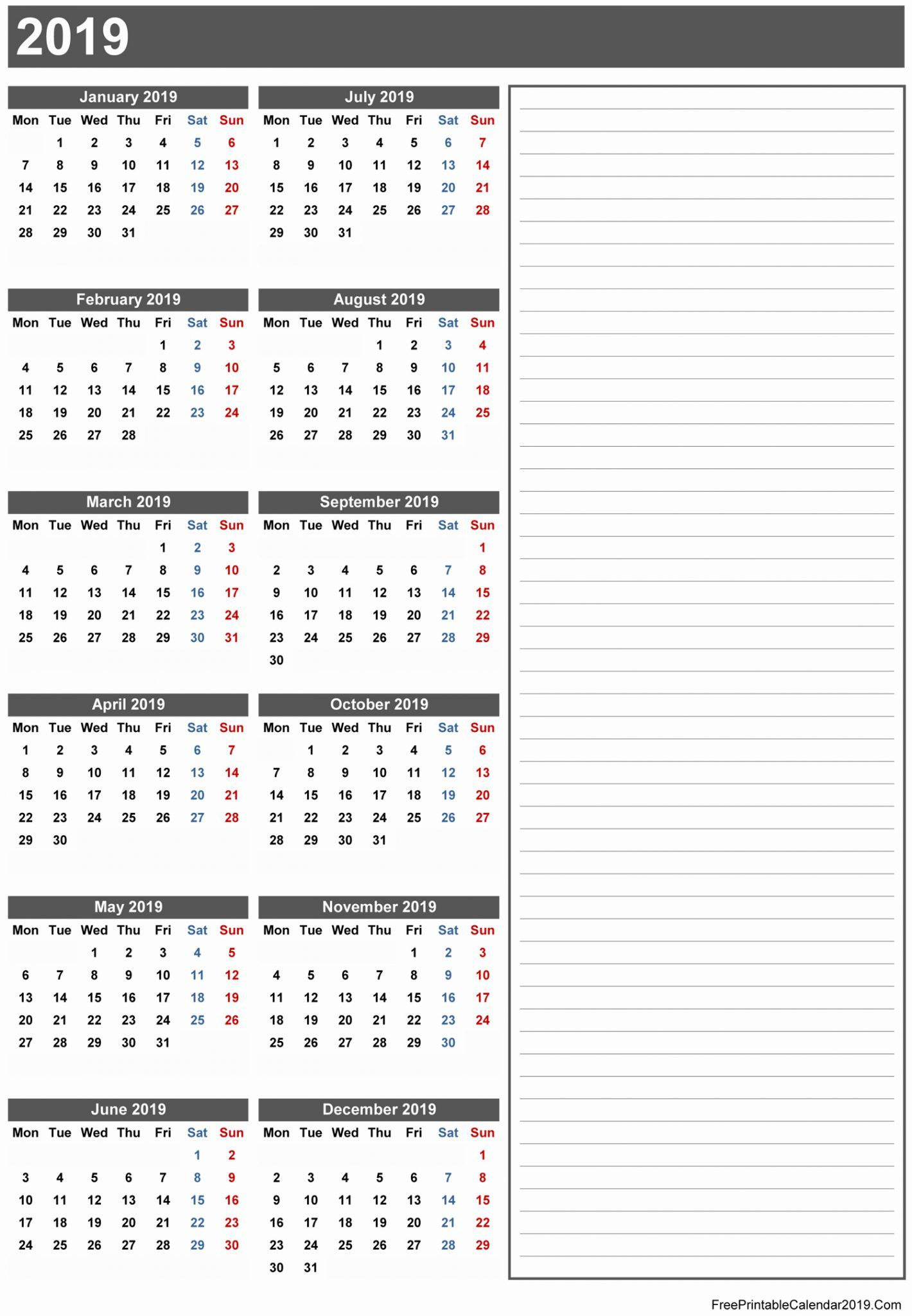 Free Printable Calendar 2019 With Holidays | Blank 12 Month Calendar within Excel 3 Month Calendar Template