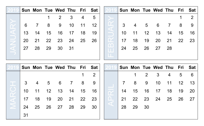 Free Printable Calendar 4 Month • Printable Blank Calendar Template intended for 4 Month Blank Calendar Template
