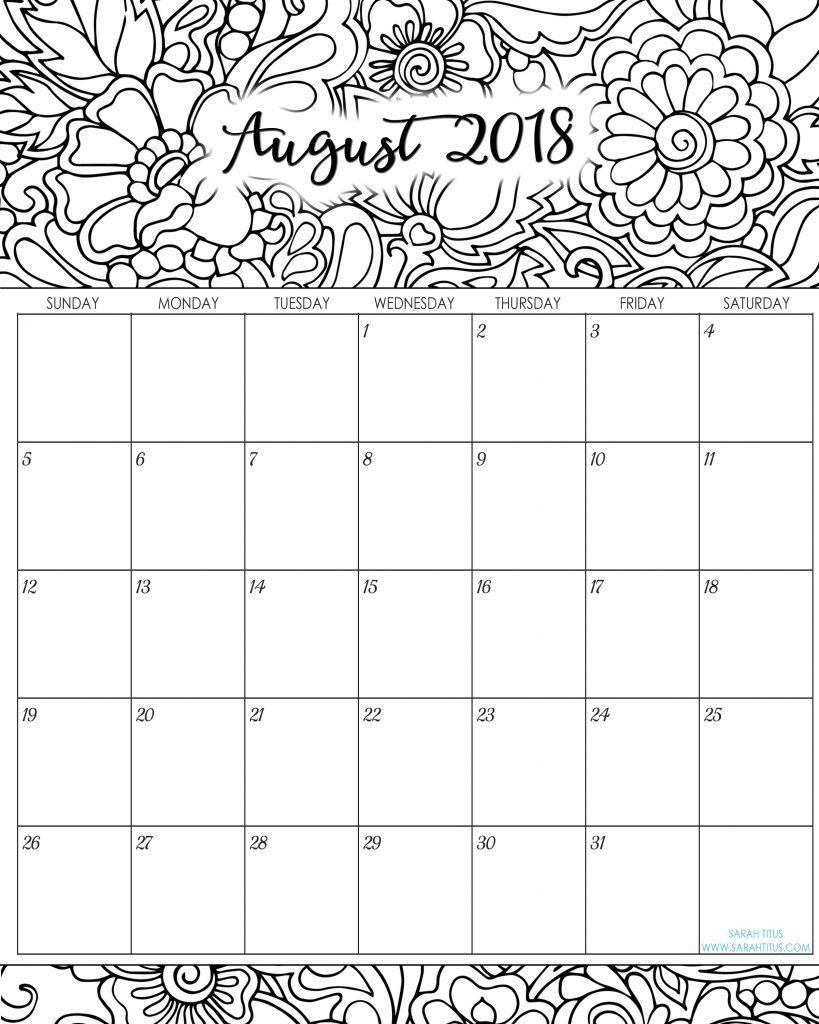 Free Printable Calendar August 2018 June-August Template 2017-June with Cute Calendar Template August