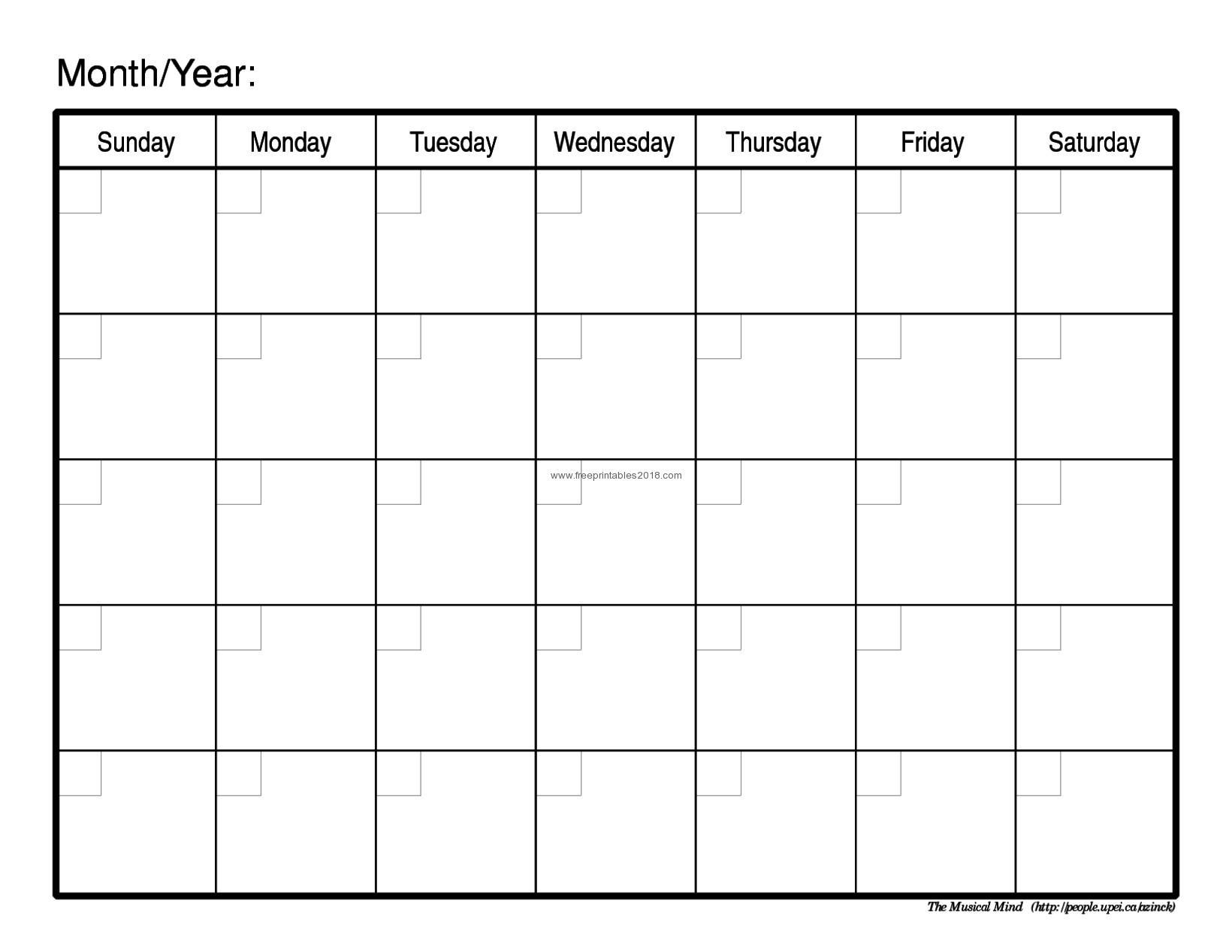 Free Printable Calendar Blank Free Printable Blank Calendar throughout Template Of A Blank Calendar Of A Month