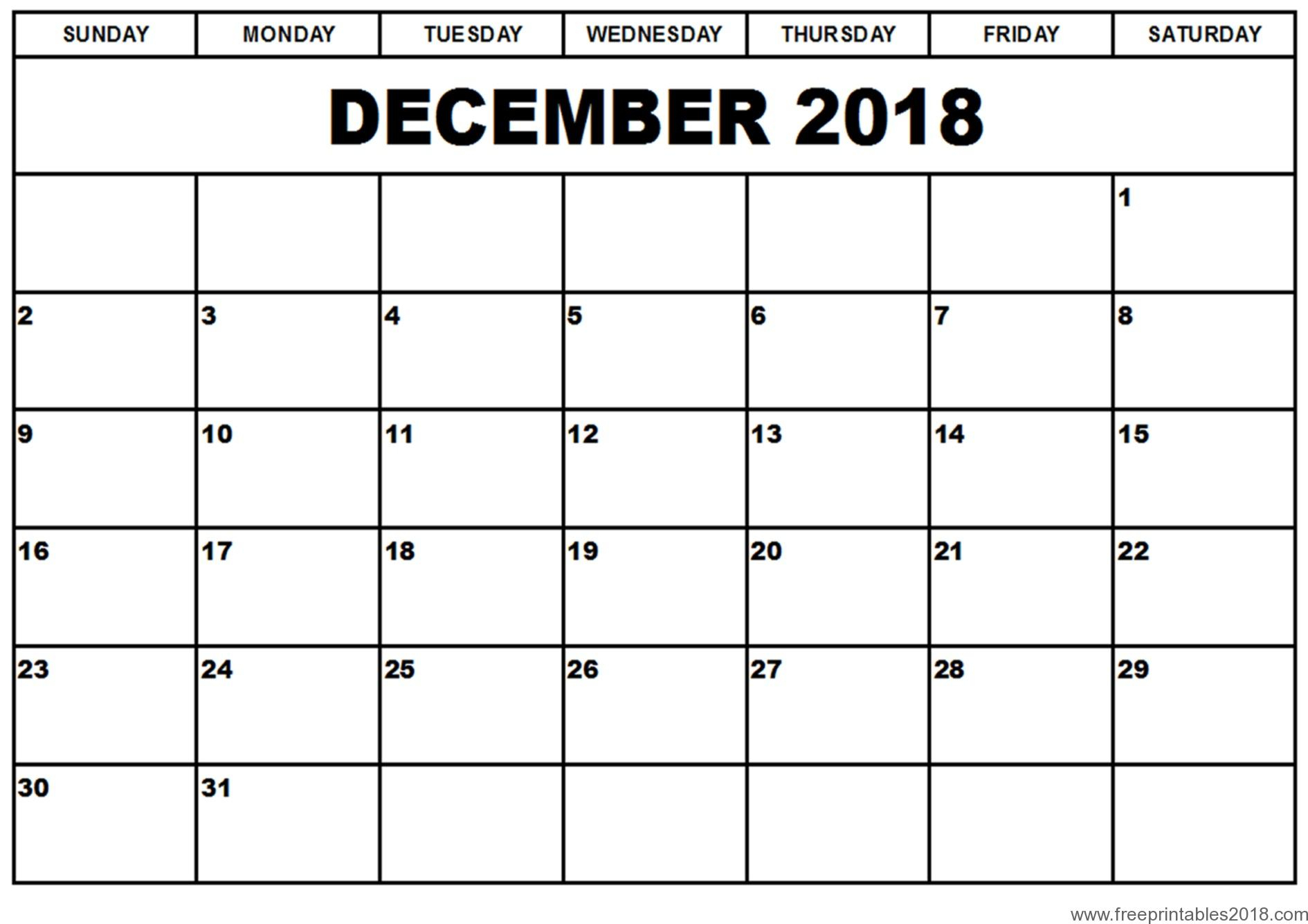 Free Printable Calendar December 2018 | Free Printables 2019 pertaining to Blank Calendar Page December