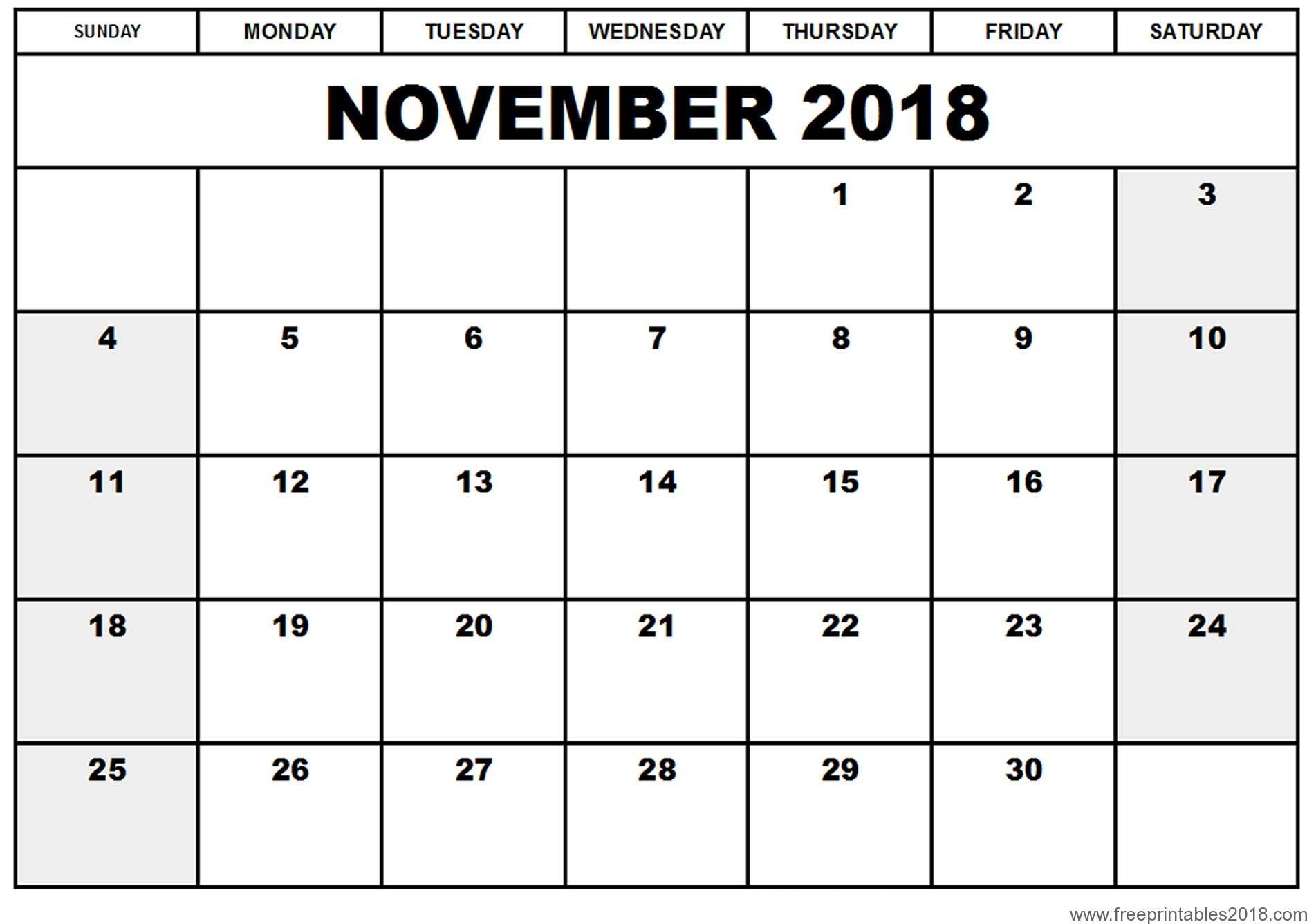Free Printable Calendar November 2018 | Free Printables 2019 for Blank Printable November Calendar