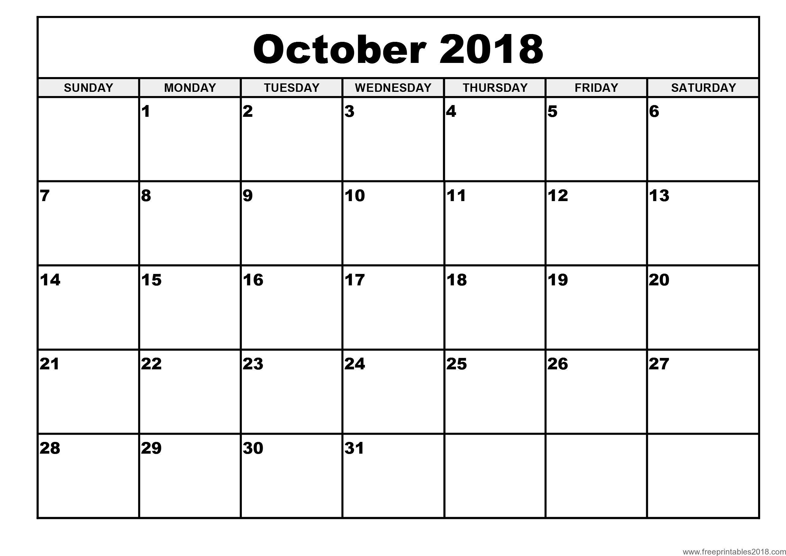Free Printable Calendar October 2018 | Free Printables 2019 in Monday To Sunday Calendar Template October