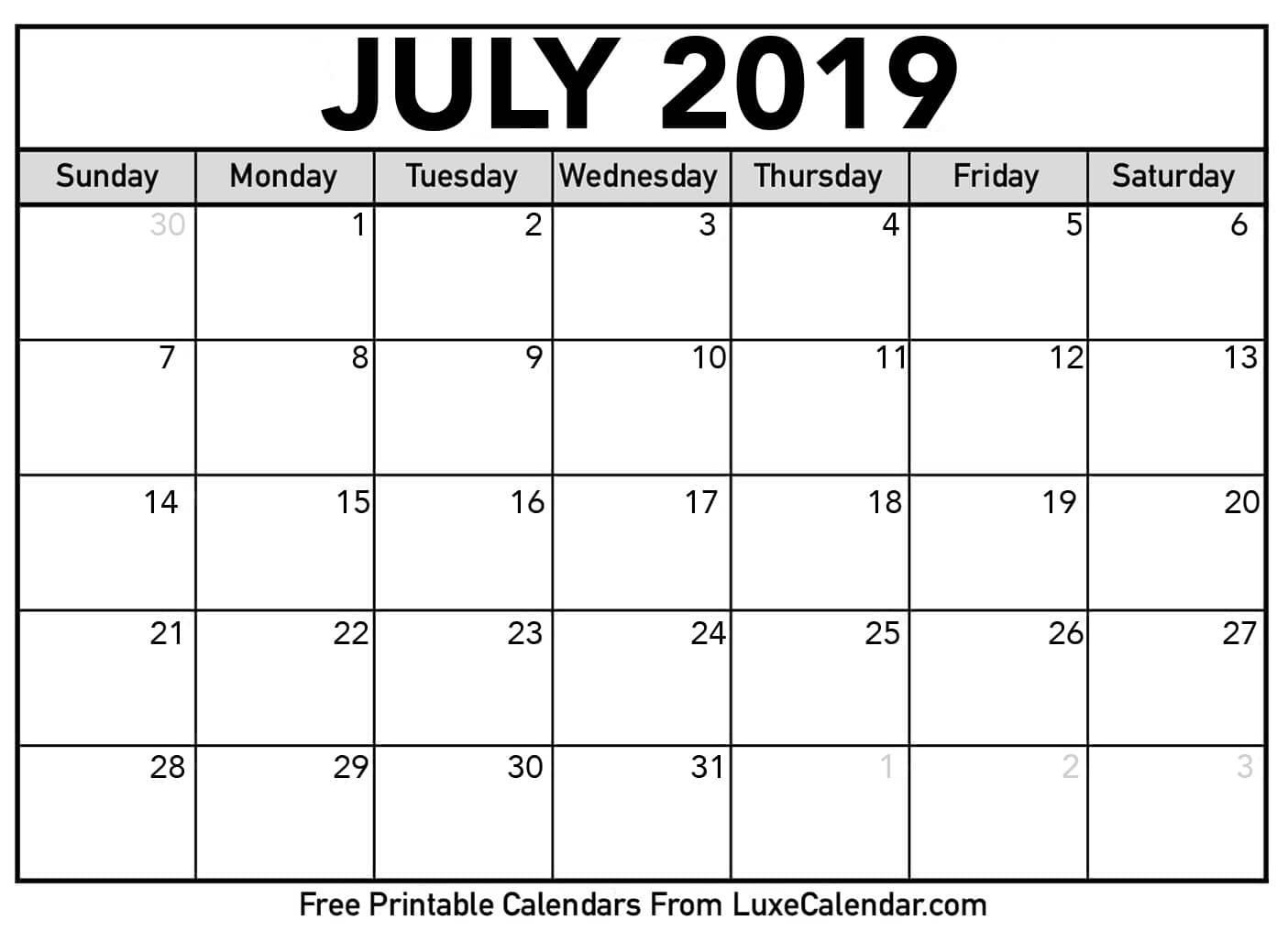 Free Printable Calendar Of June 2019 Blank Templates Word in June And July Blank Calendar