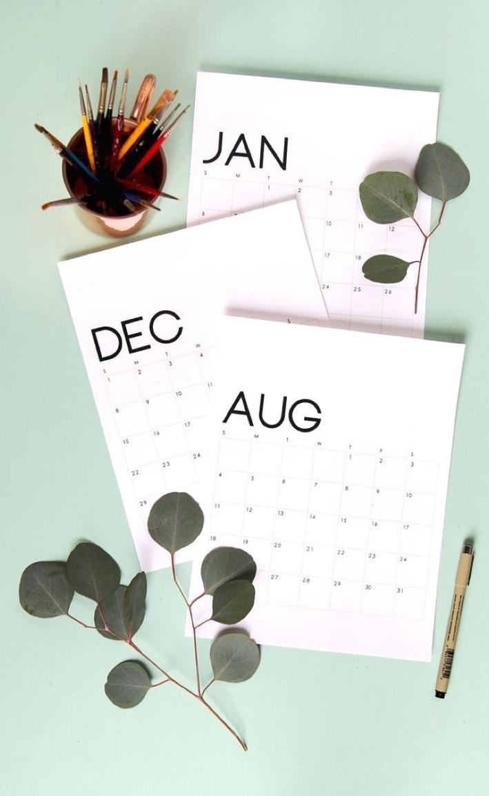 Free Printable Calendar Roundup   2019 Monthly Templates   Curbly throughout Decorative Printable Calendar Templates