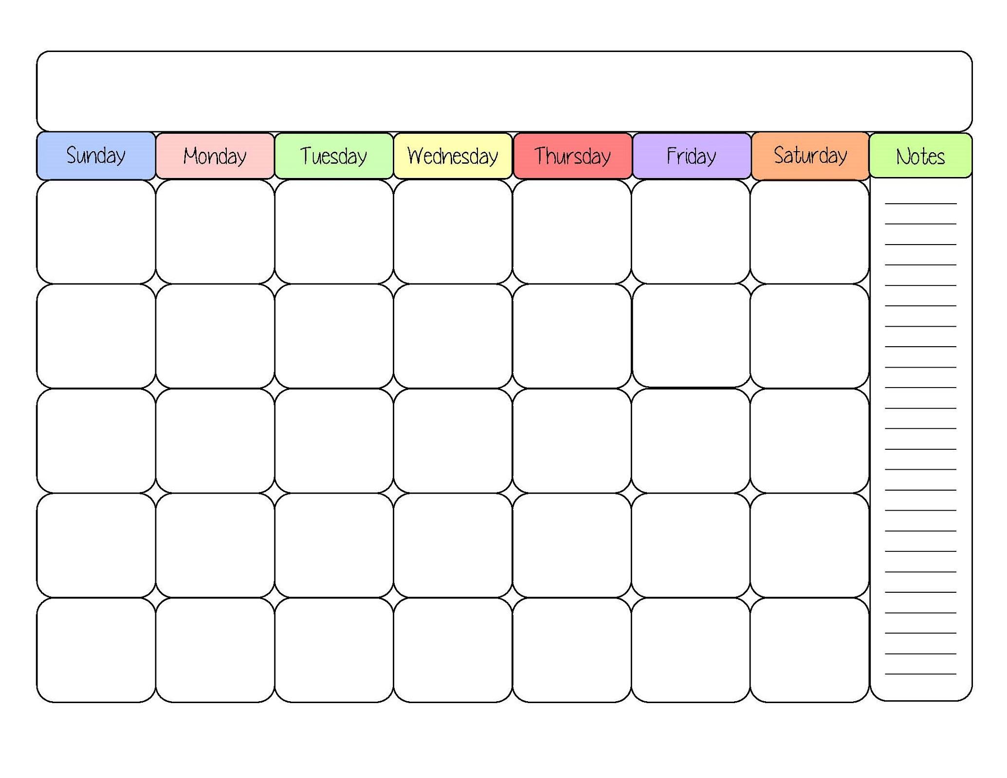 Free Printable Calendar Templates | Activity Shelter for Blank Printable Calendar Free