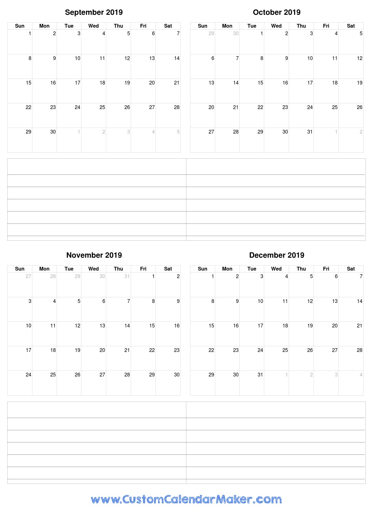 Free Printable Calendars, Blank Pdf Templates To Print A 2019 Calendar regarding Calendar For October Thru December 2019