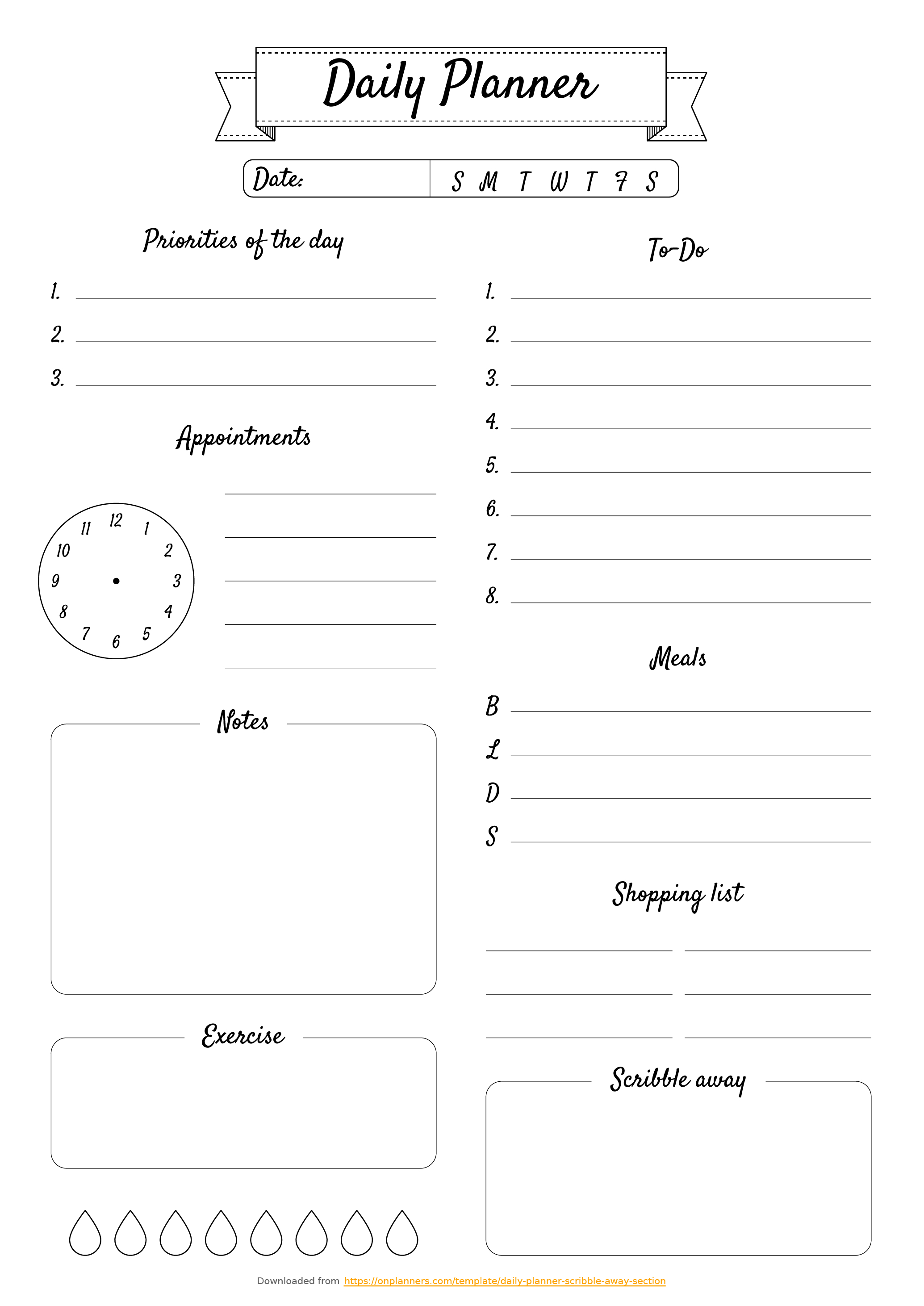 Free Printable Daily Planner With Scribble Away Section Pdf Download regarding Daily Planner Templates Pretty
