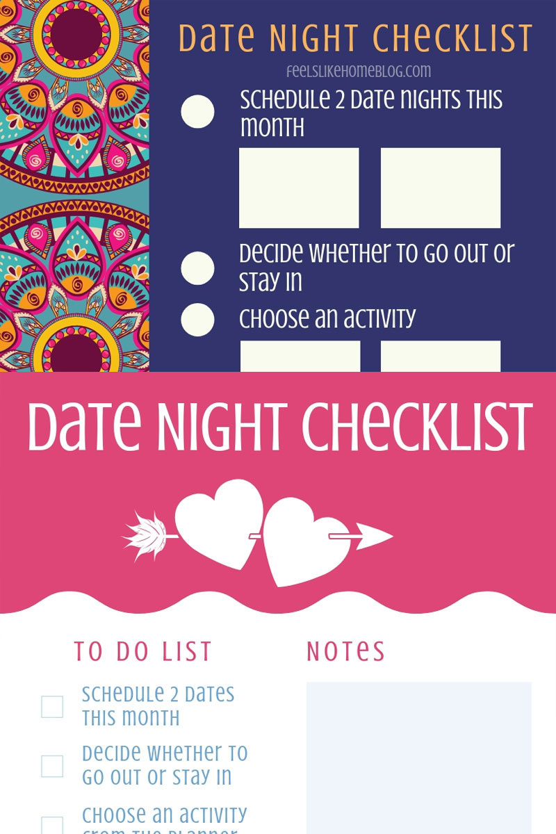 Free Printable Date Night Checklist | Feels Like Home™ with Planning Date Night Checklist Template