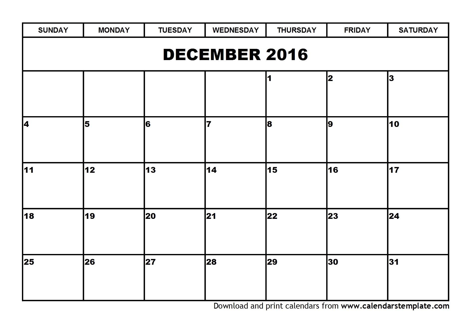 Free Printable December Calendar 2016 | Jcreview in Blank December Calendar Printable