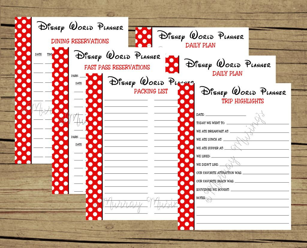 Free Printable Disney World Vacation Planner #freeprintable | Dream for Disney World Itinerary Template Blank