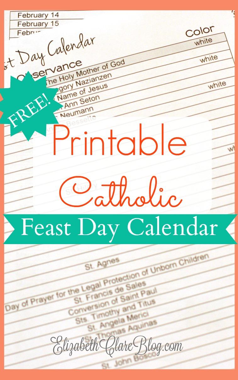 Free-Printable-Feast-Day-Calendar - Elizabeth Clare with regard to Free Catholic Liturgical Calendar For 2020