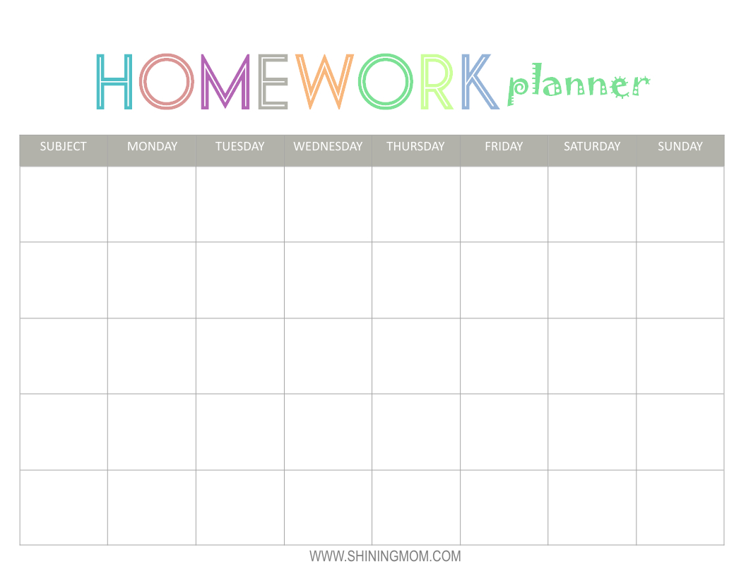 Free Printable: Homework Planner | Top Free Printables | Homework pertaining to Cute Homework Schedule Template Printable