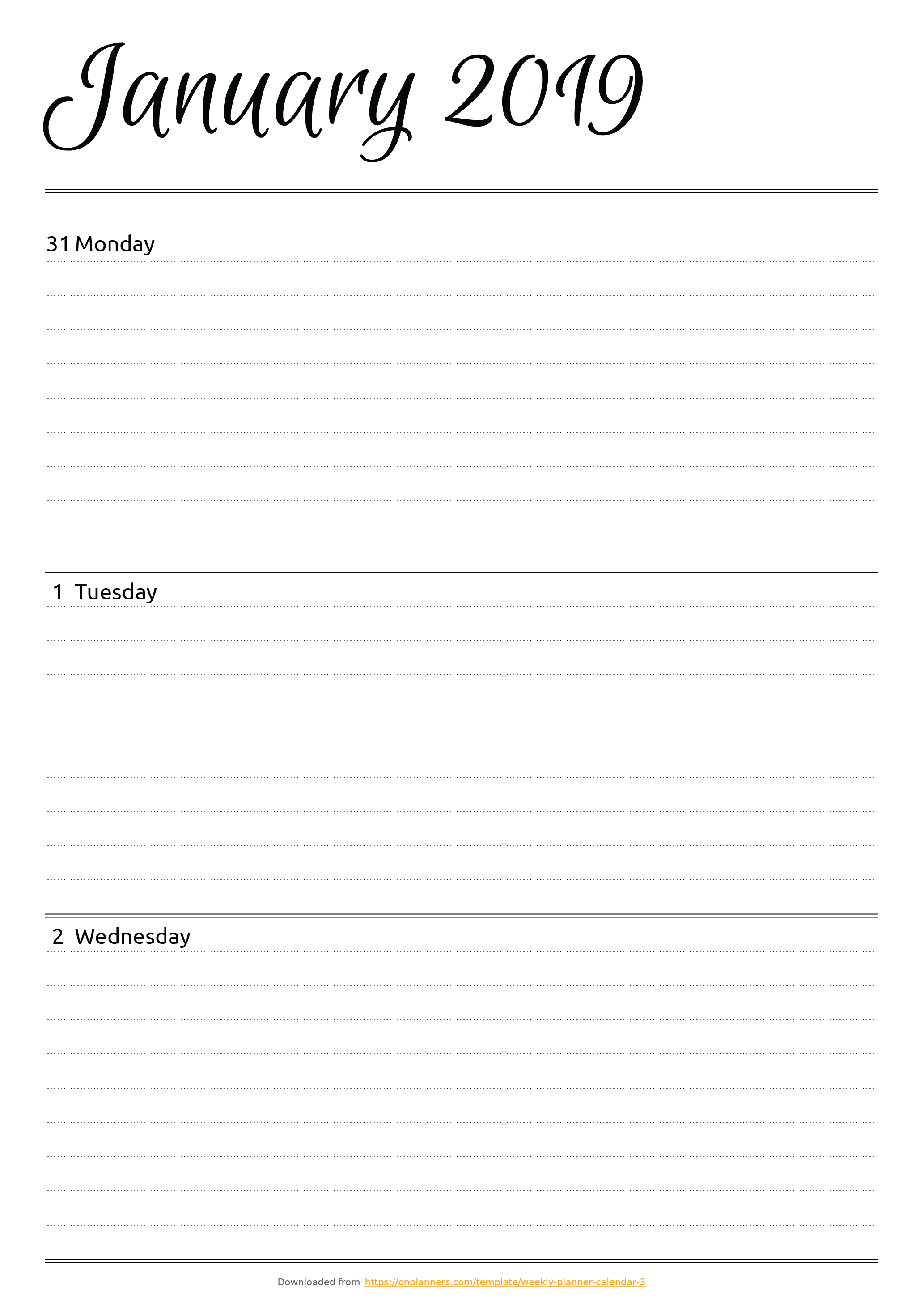 Free Printable Horizontal Weekly Planner Pdf Download for Horizontal Weekly Calendar Template