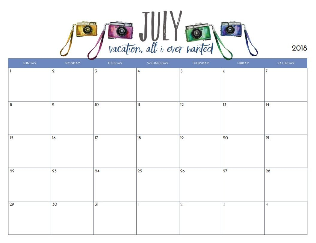 Free Printable July 2018 Monthly Calendar | Classroom Tools within Blank July Monthly Calendar