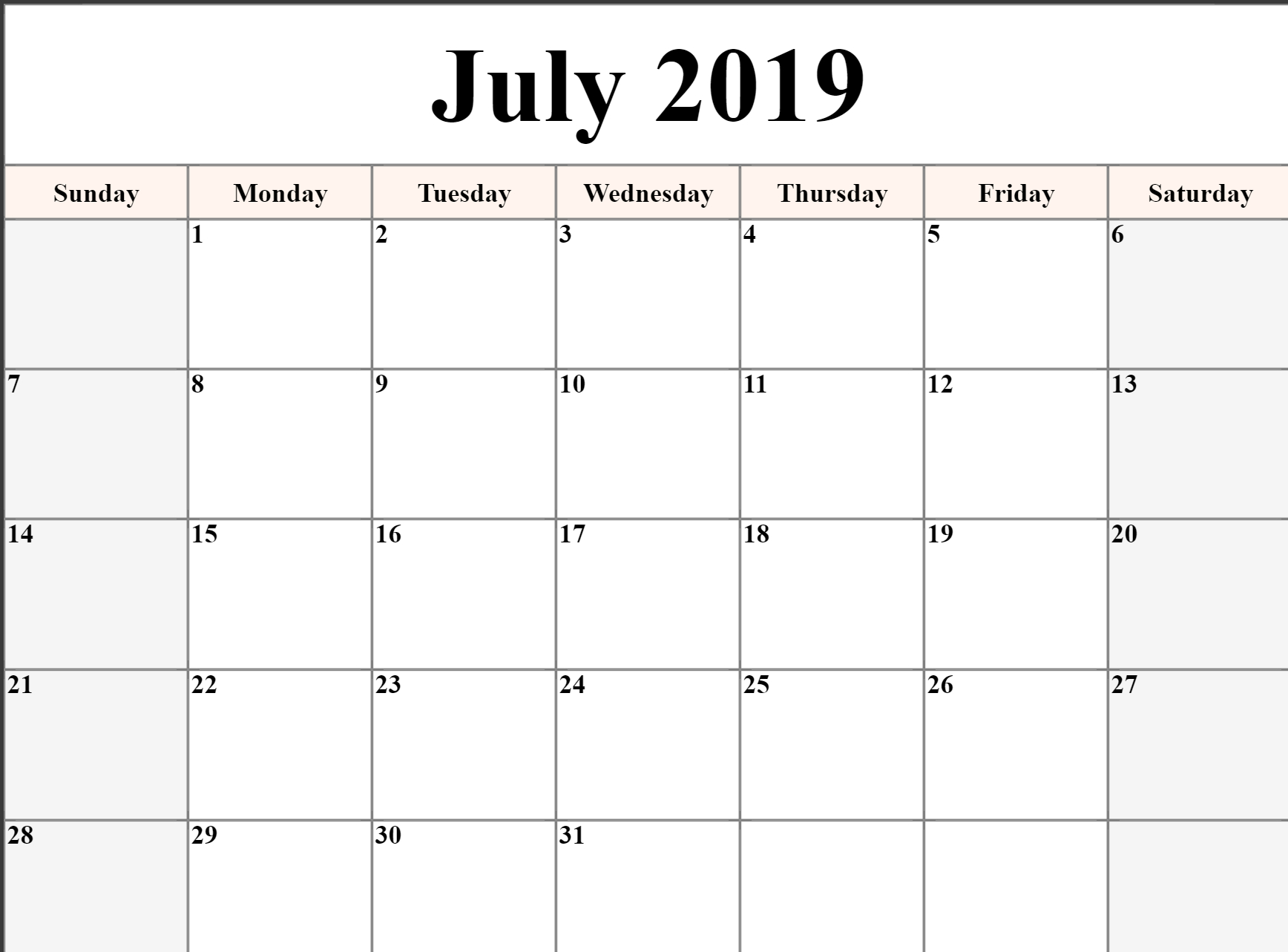 Free Printable July 2019 Calendar Download - Free Printable Calendar intended for Calendar Blank Printable Monday Start A4