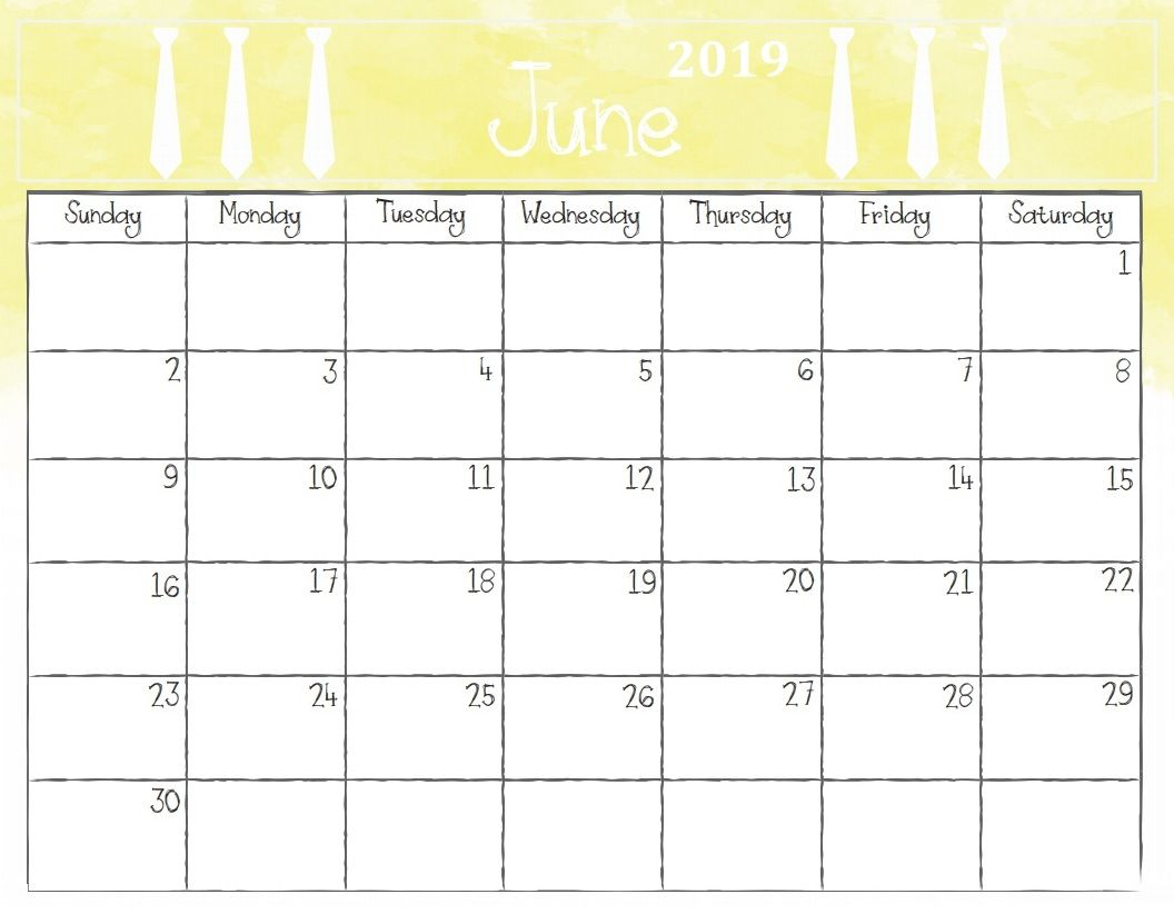 Free Printable June 2019 Calendar Template In Landscape Layout with regard to Free Cute Printable Calendar Templates