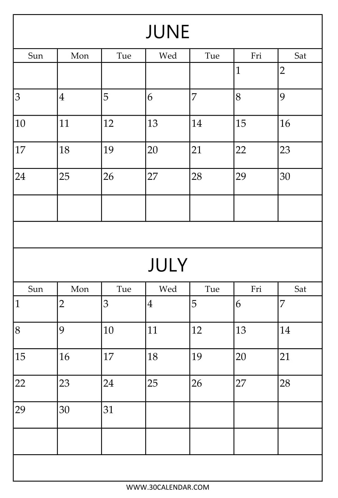Free Printable June July Calendar Template | 2018 Calendar | July with regard to Blank June And July Calendar