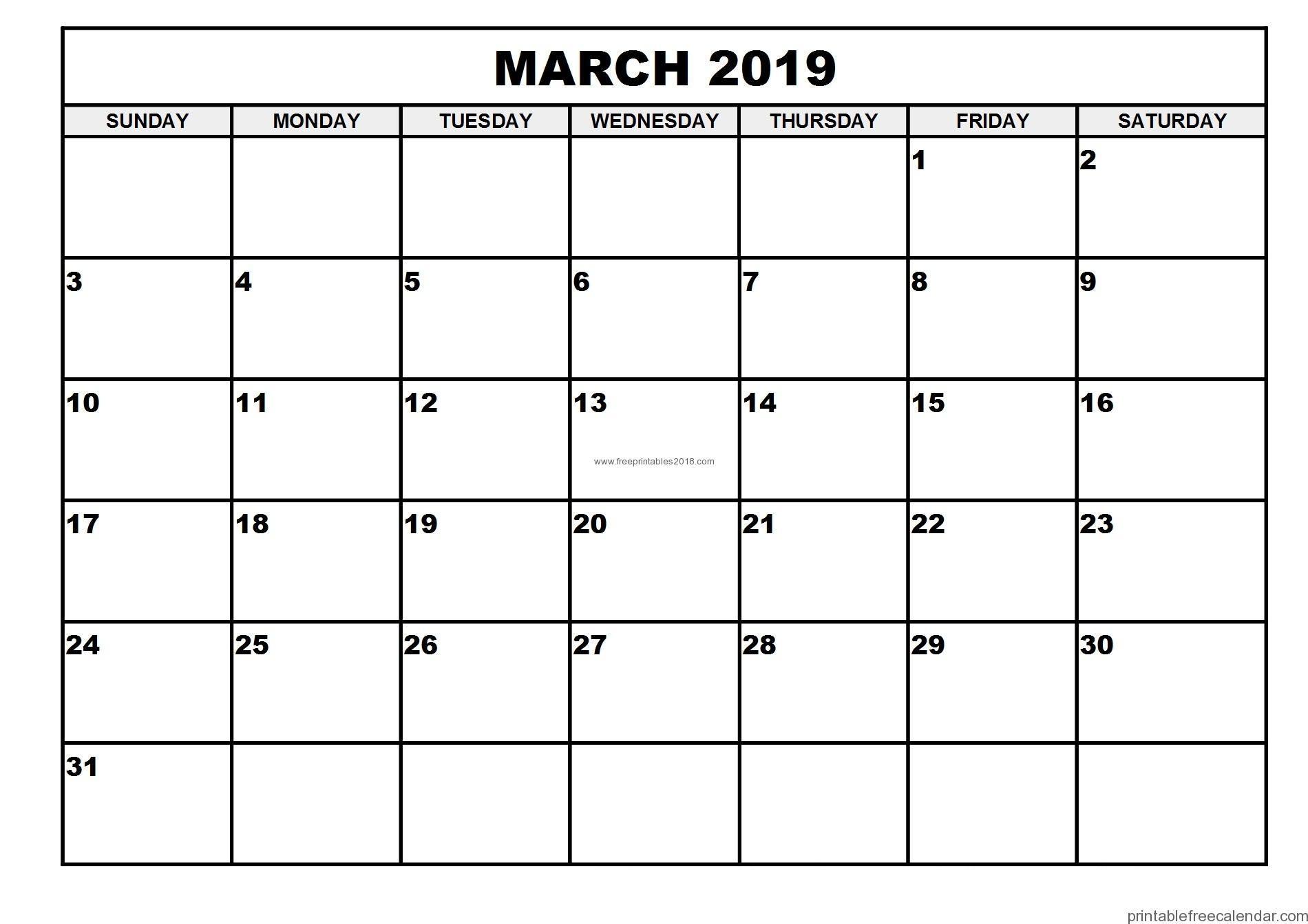 Free Printable March 2019 Calendar Templates   Free Printables 2019 intended for Calendar Printable Free Template