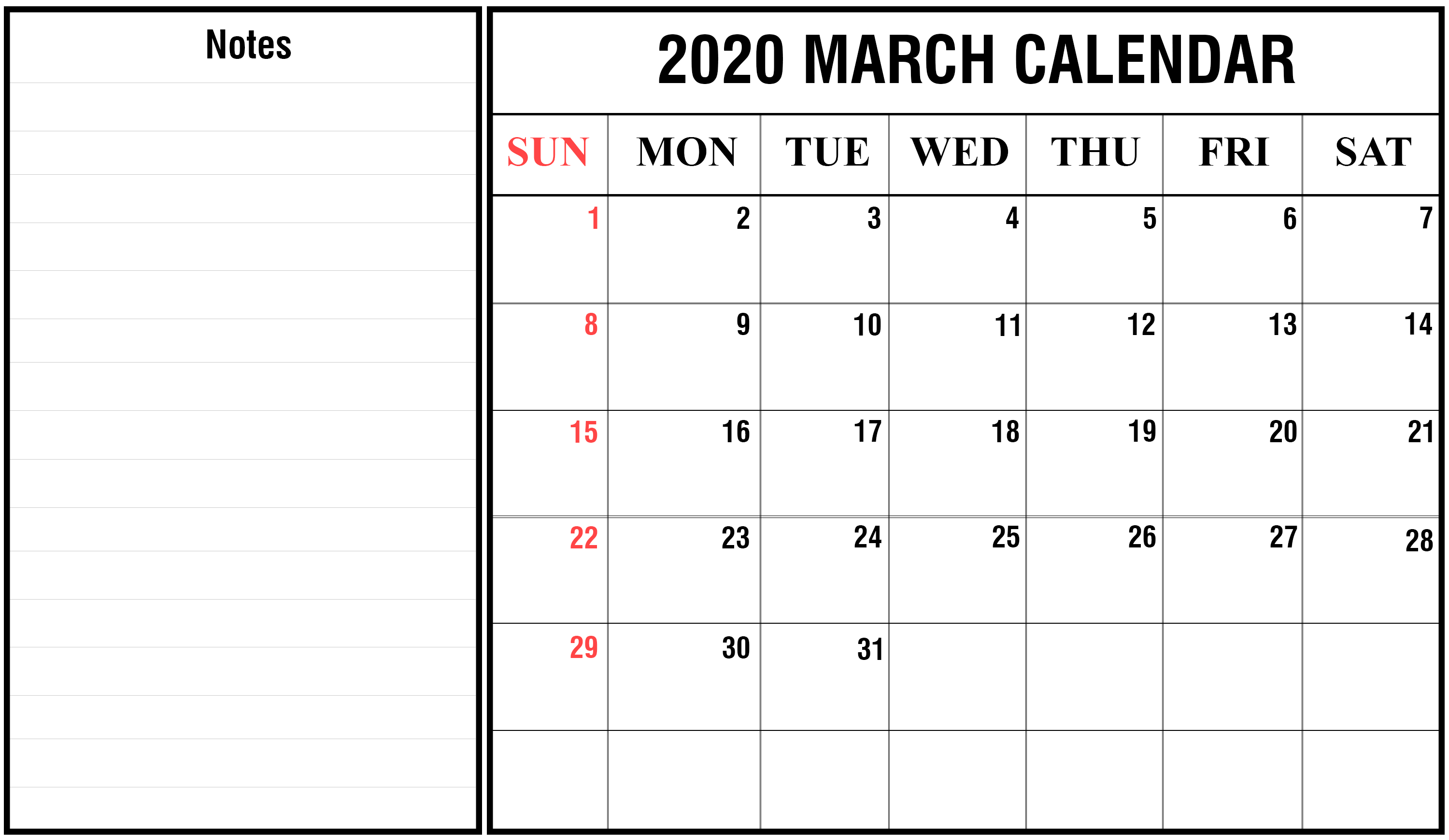 Free Printable March Calendar 2020 Blank Template Editable with regard to Free Printable 2020 Calendar To I Can Edit