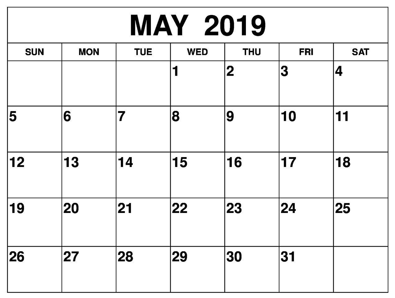 Free Printable May 2019 Calendar Editable | Blank May 2019 Calendar pertaining to Free Fillable Blank Calendar Templates