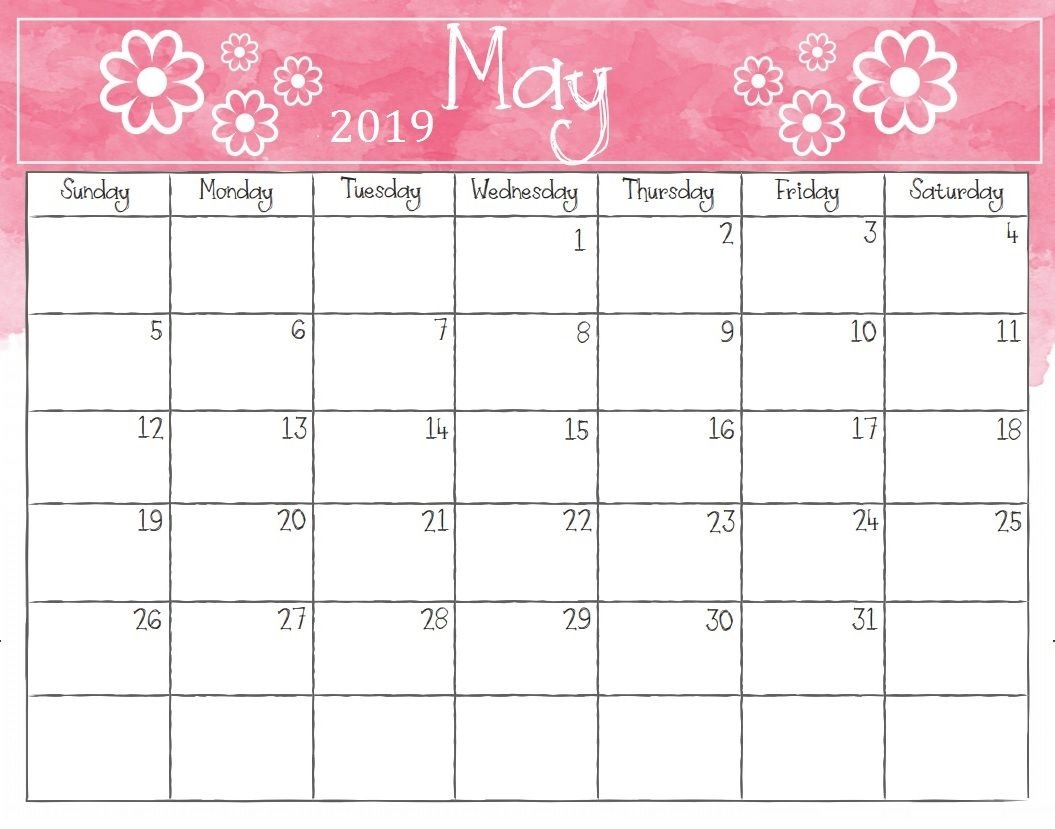 Free Printable May 2019 Calendar Template - Free Printable Calendar within Free Downloadable Cute Calendar Template