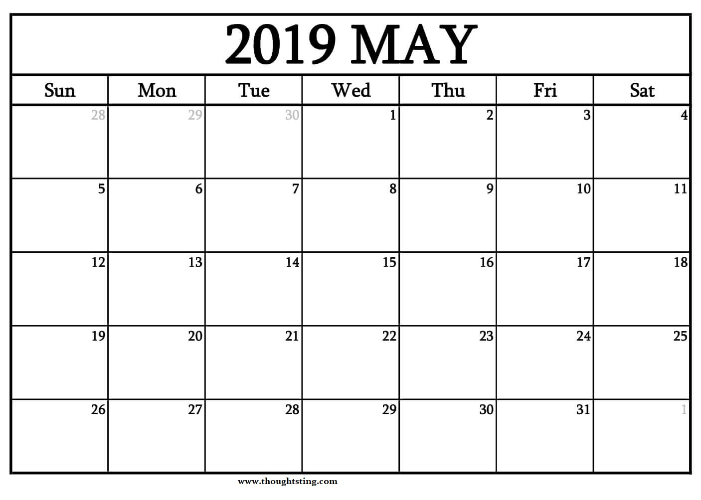 Free Printable May 2019 Calendar Template Word And Excel - Free with regard to Blank Calendar Template Excel