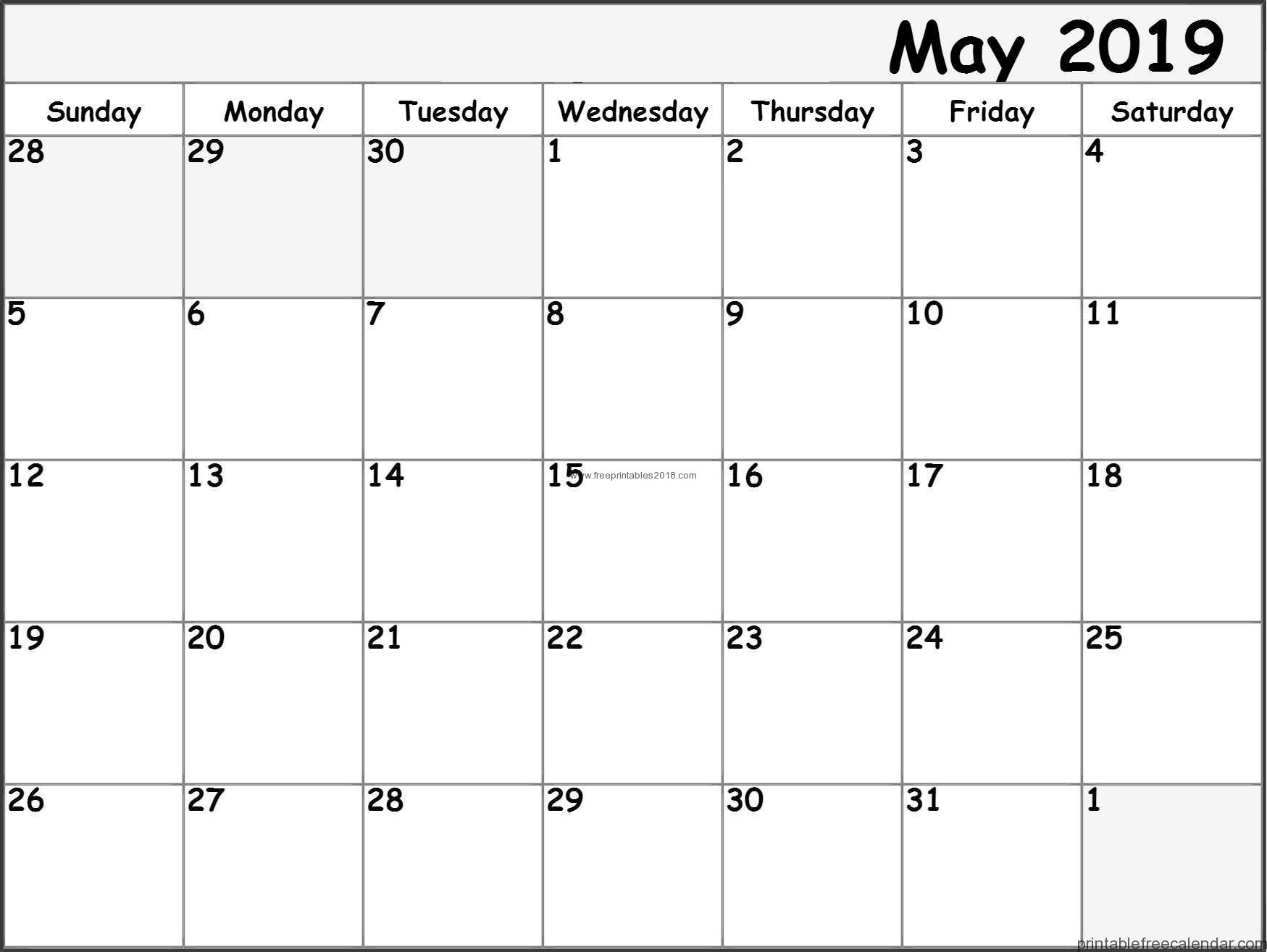 Free Printable May 2019 Calendar Templates | Free Printables 2019 with regard to Fancy August Printable Calendar Template