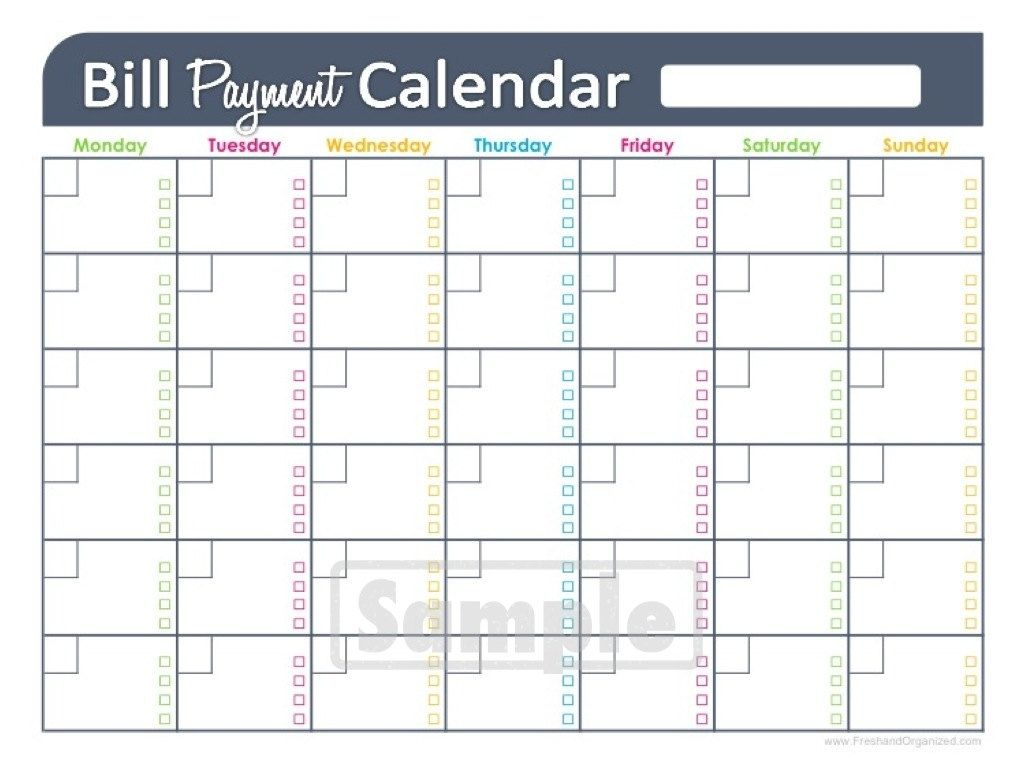 Free Printable Monthly Bill Pay Chart | Calendar Template Printable within Monthly Bill Calendar Template Printable