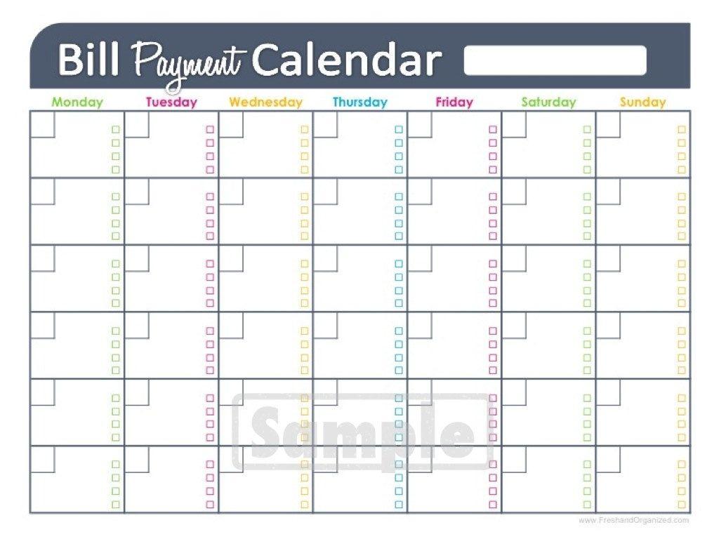 Free Printable Monthly Bill Pay Chart | Calendar Template Printable within Printable Monthly Calendar Templates Bills