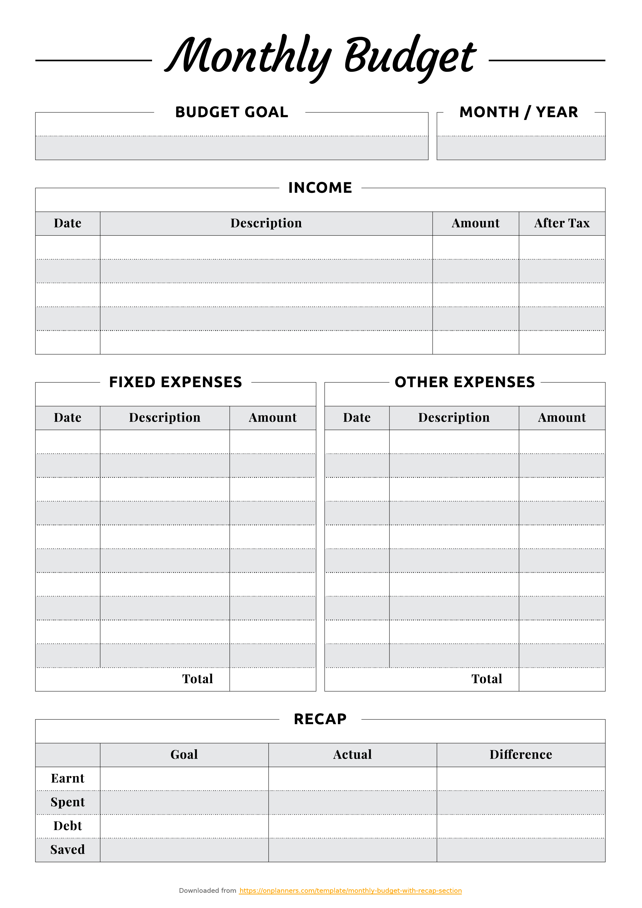 Free Printable Monthly Budget With Recap Section Pdf Download intended for Monthly Bills Template With Account Number And Address