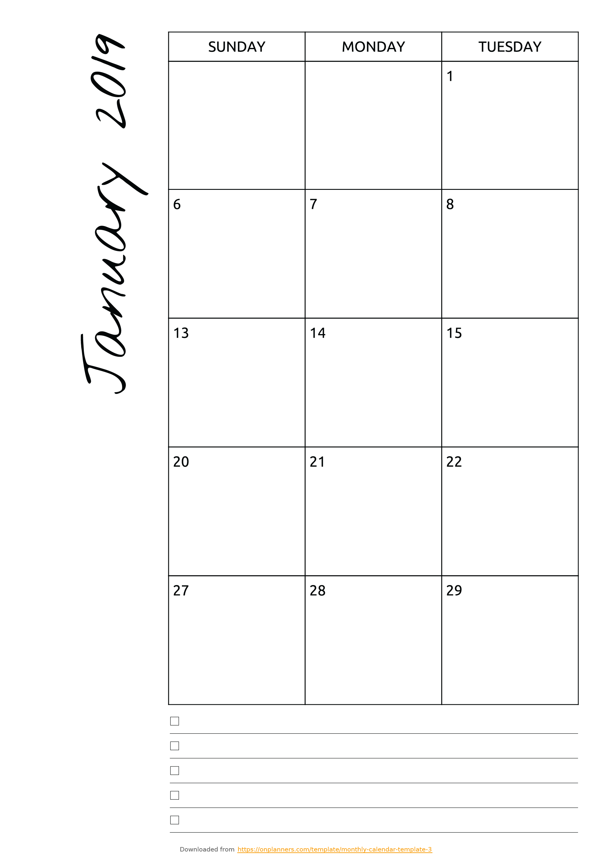 Free Printable Monthly Calendar With Notes Pdf Download with regard to Printable Monthly Calendar Templates