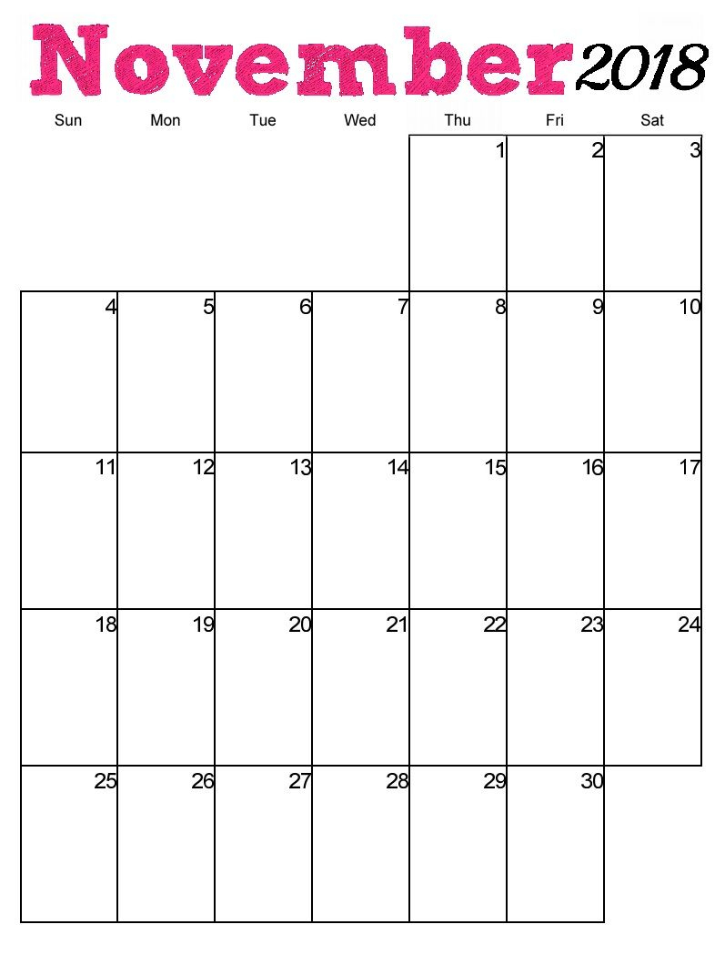 Free Printable November 2018 Vertical Calendar | Just Stuff | 2018 within Blank Calendar With Open Squares