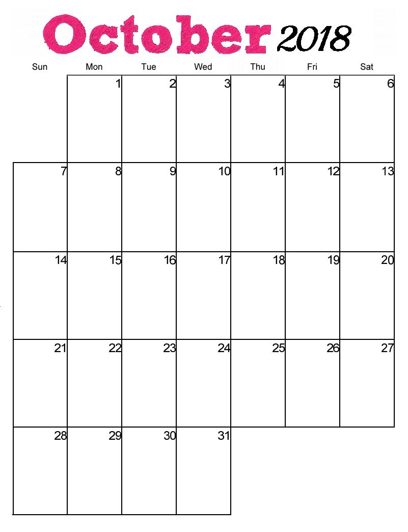Free Printable October 2018 Vertical Calendar | Maxcalendars | Blank in 2020 Printable Calendar With Large Squares